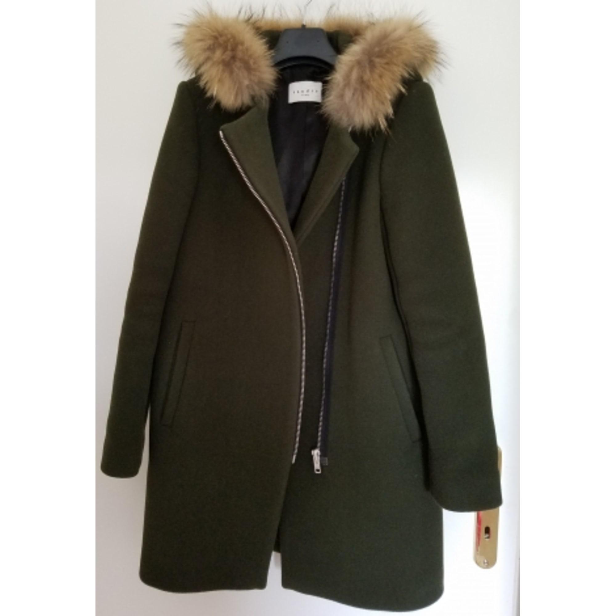 Manteau femme kaki capuche fourrure pas cher