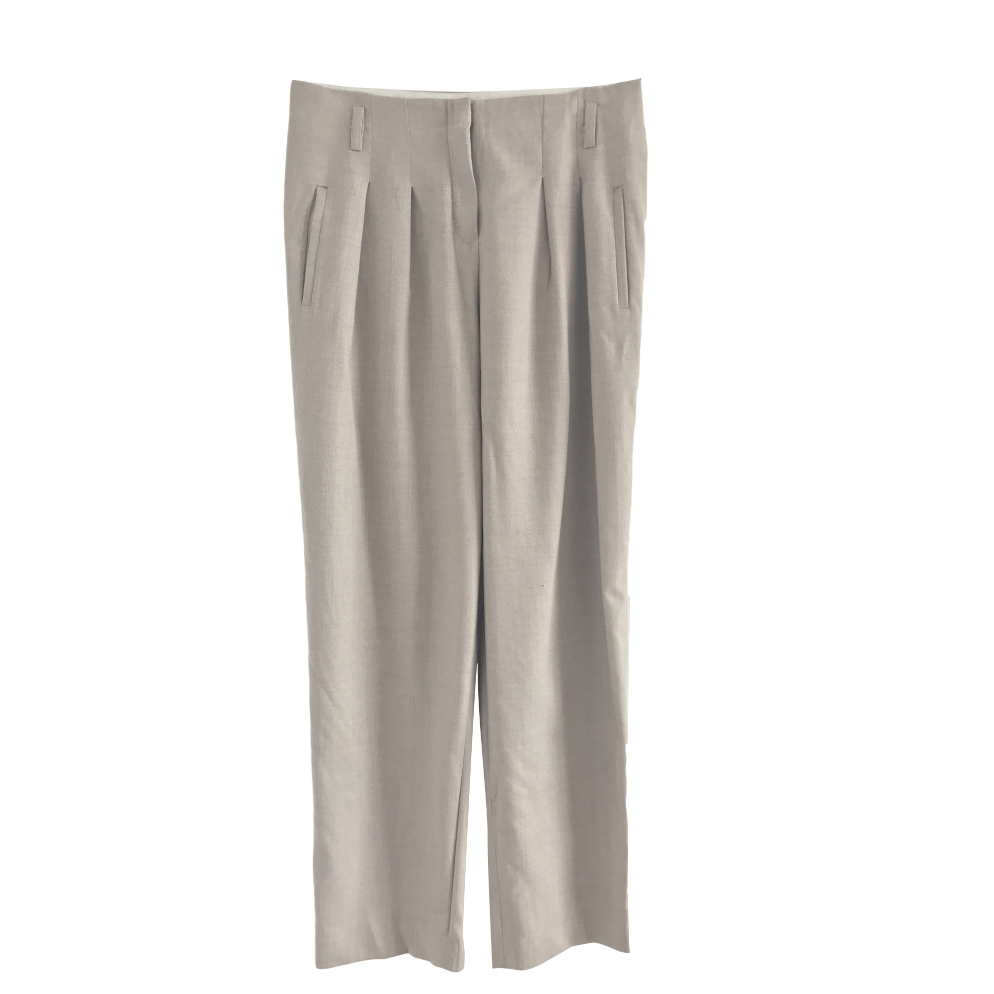 Pantalon large MAJE Blanc, blanc cassé, écru