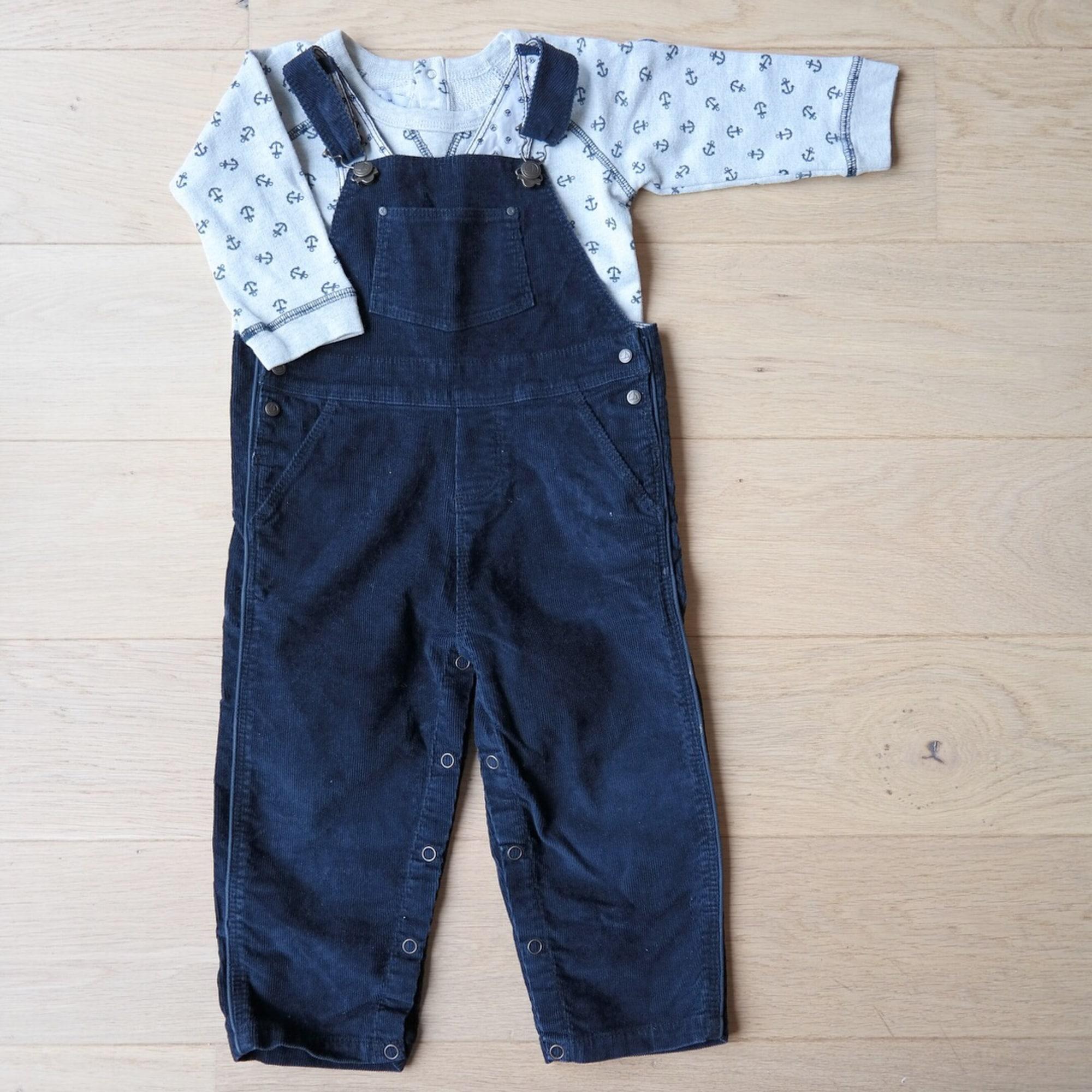 Salopette PETIT BATEAU velours côtelé bleu 18 mois 3a946d0271c
