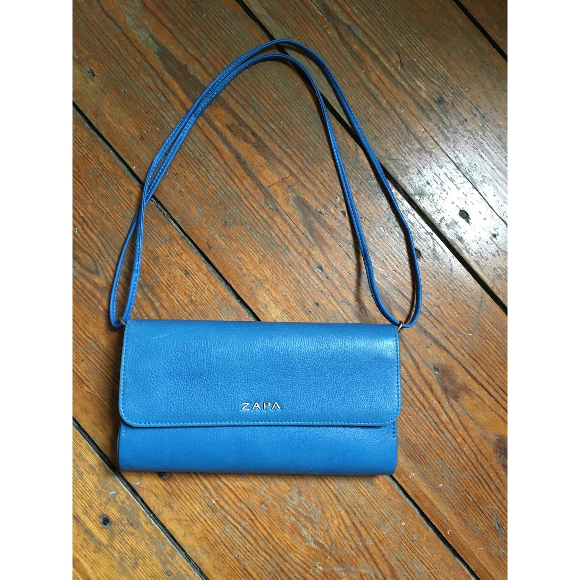 Sac pochette en cuir ZAPA cuir bleu