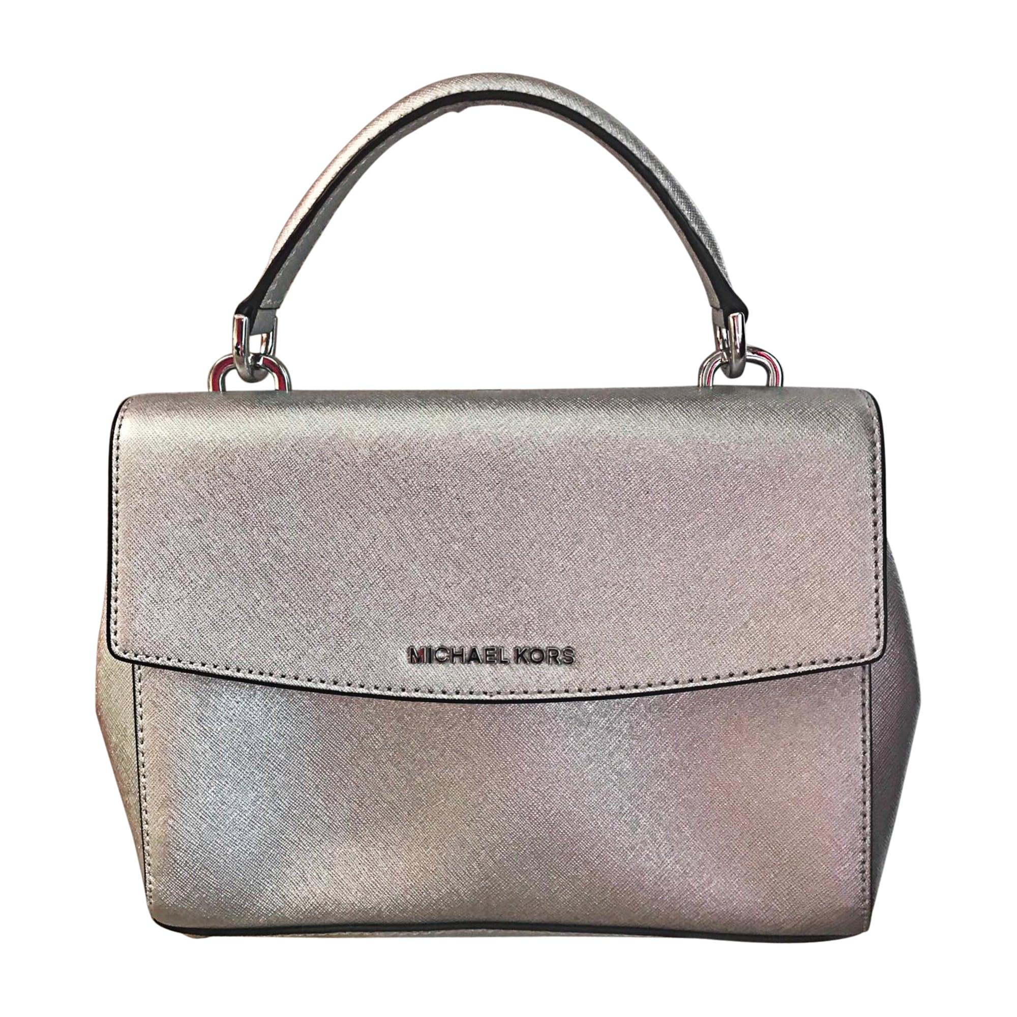 Leather Shoulder Bag MICHAEL KORS Silver