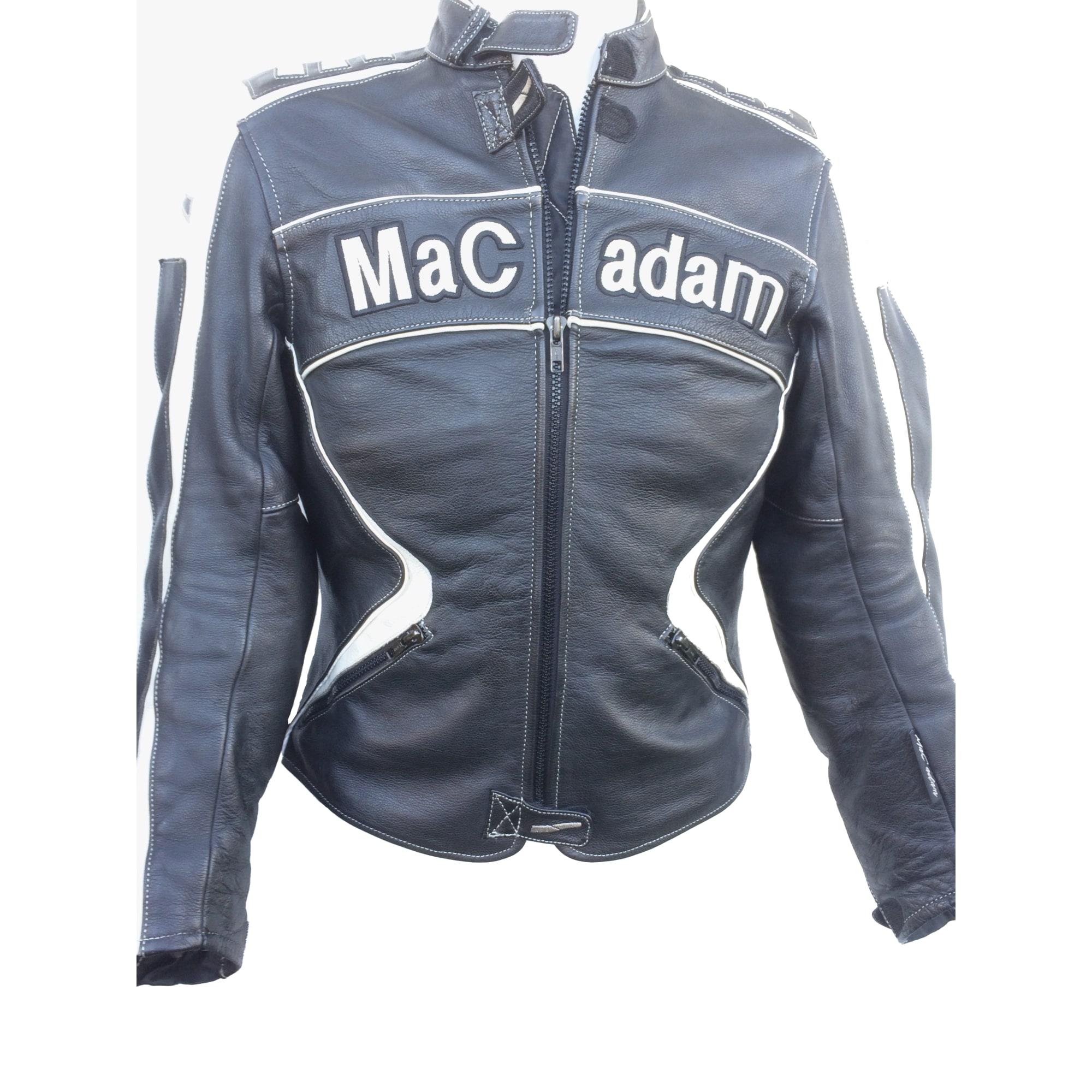 Blouson noir moto pour femme de chez Mac Adam en cuir de