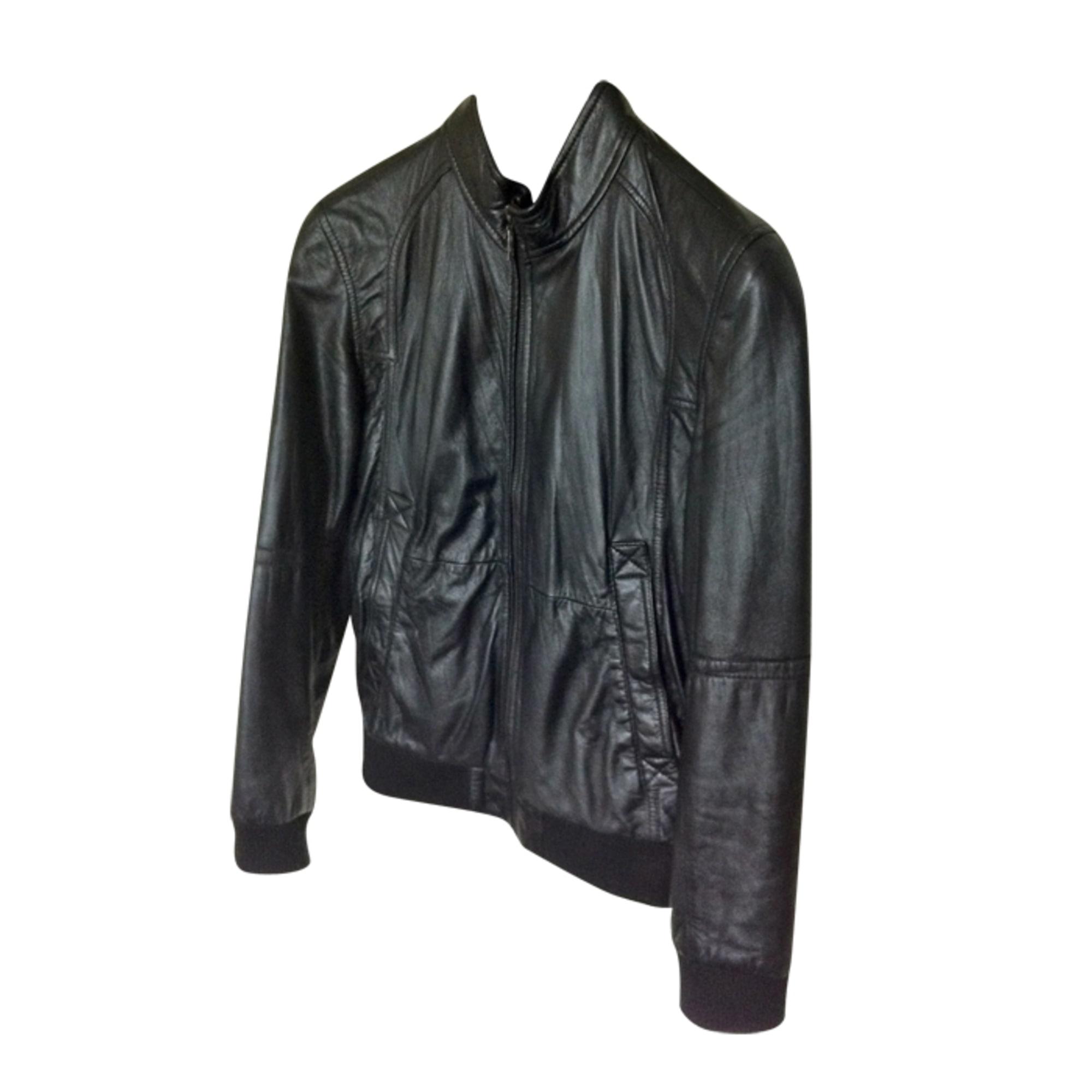 Blouson cuir noir homme celio