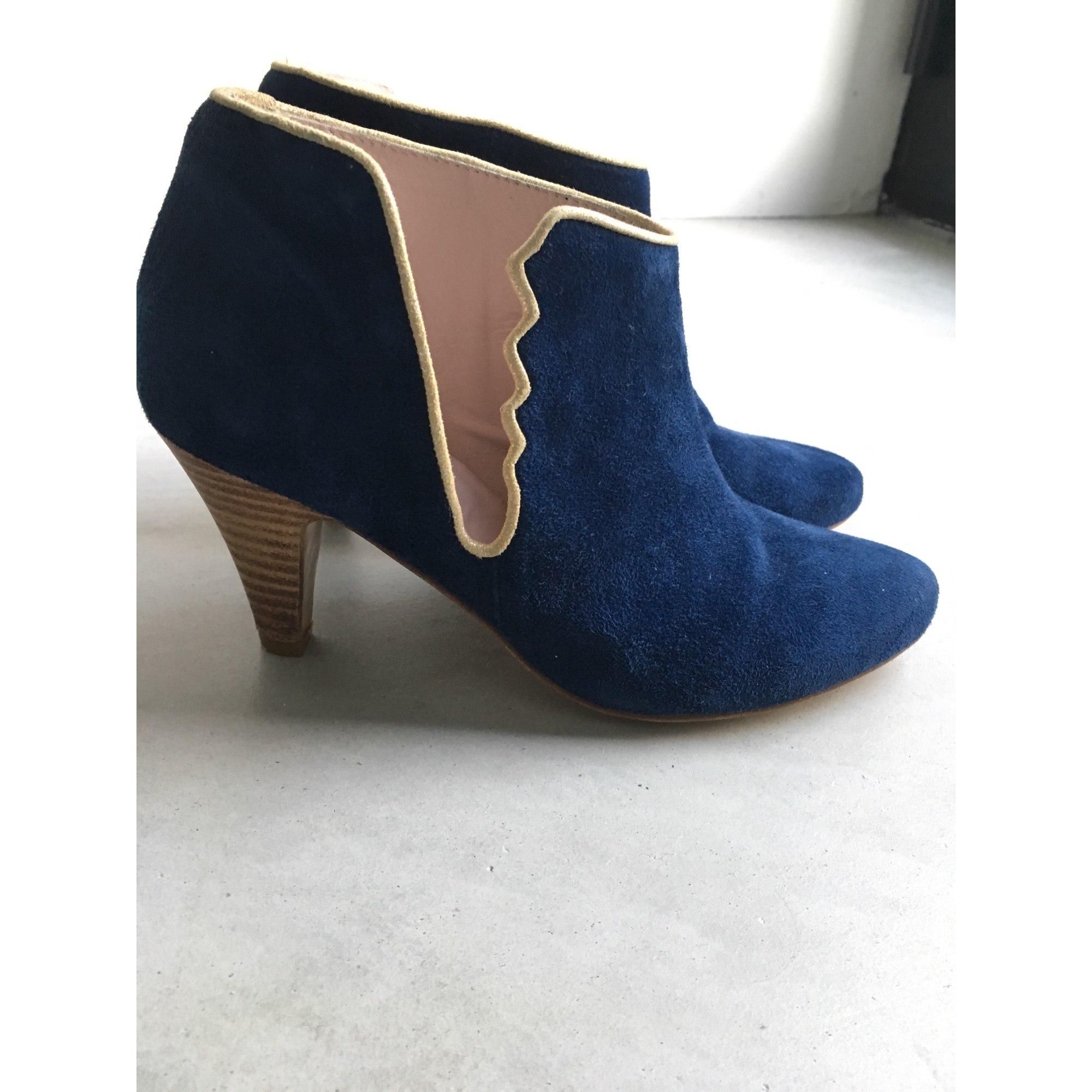 0435914859000 Bottines amp  low boots à talons PATRICIA BLANCHET cuir bleu 37 ...