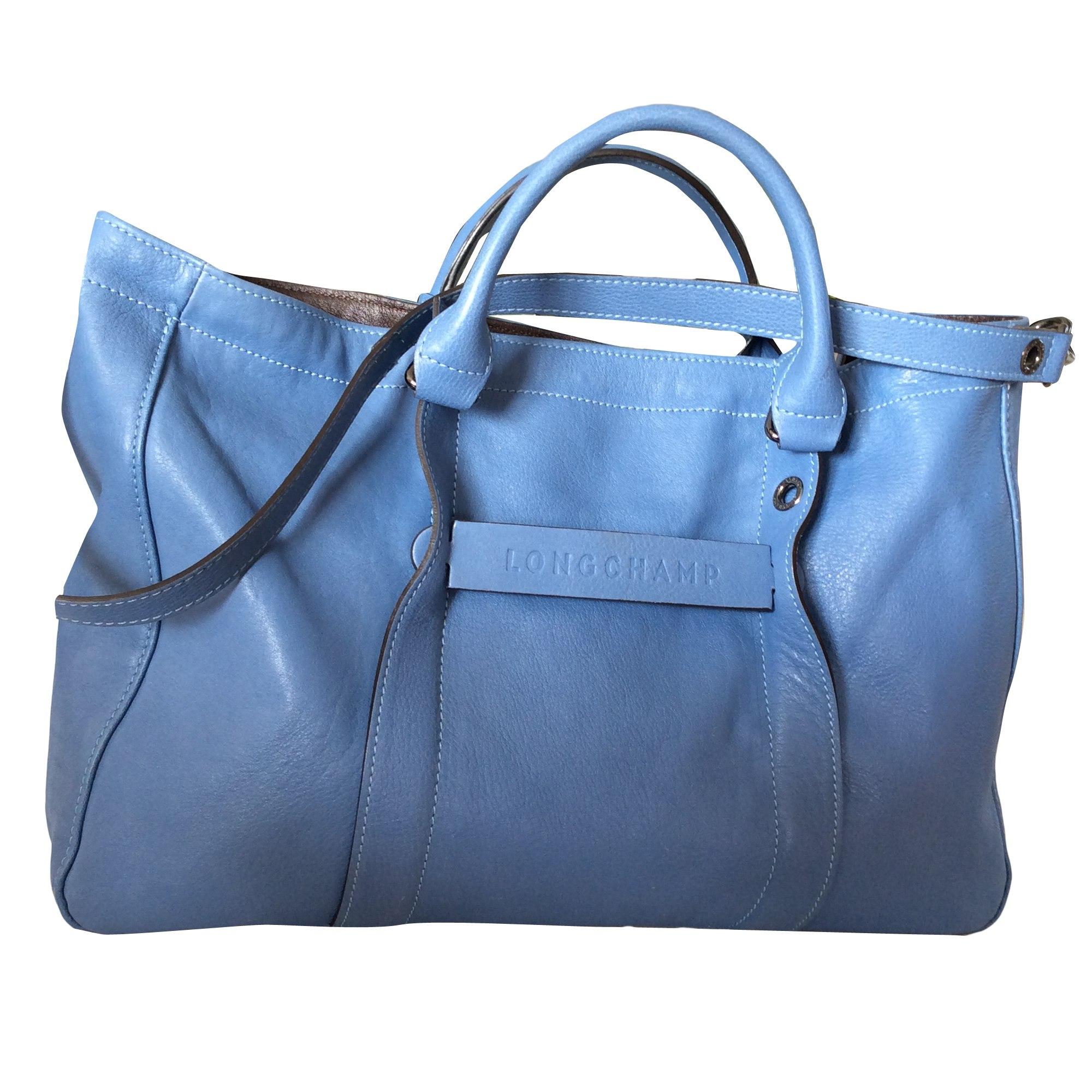 Main Bleu À Longchamp Cuir En Marine Sac Turquoise Bleu nSZ7RZ