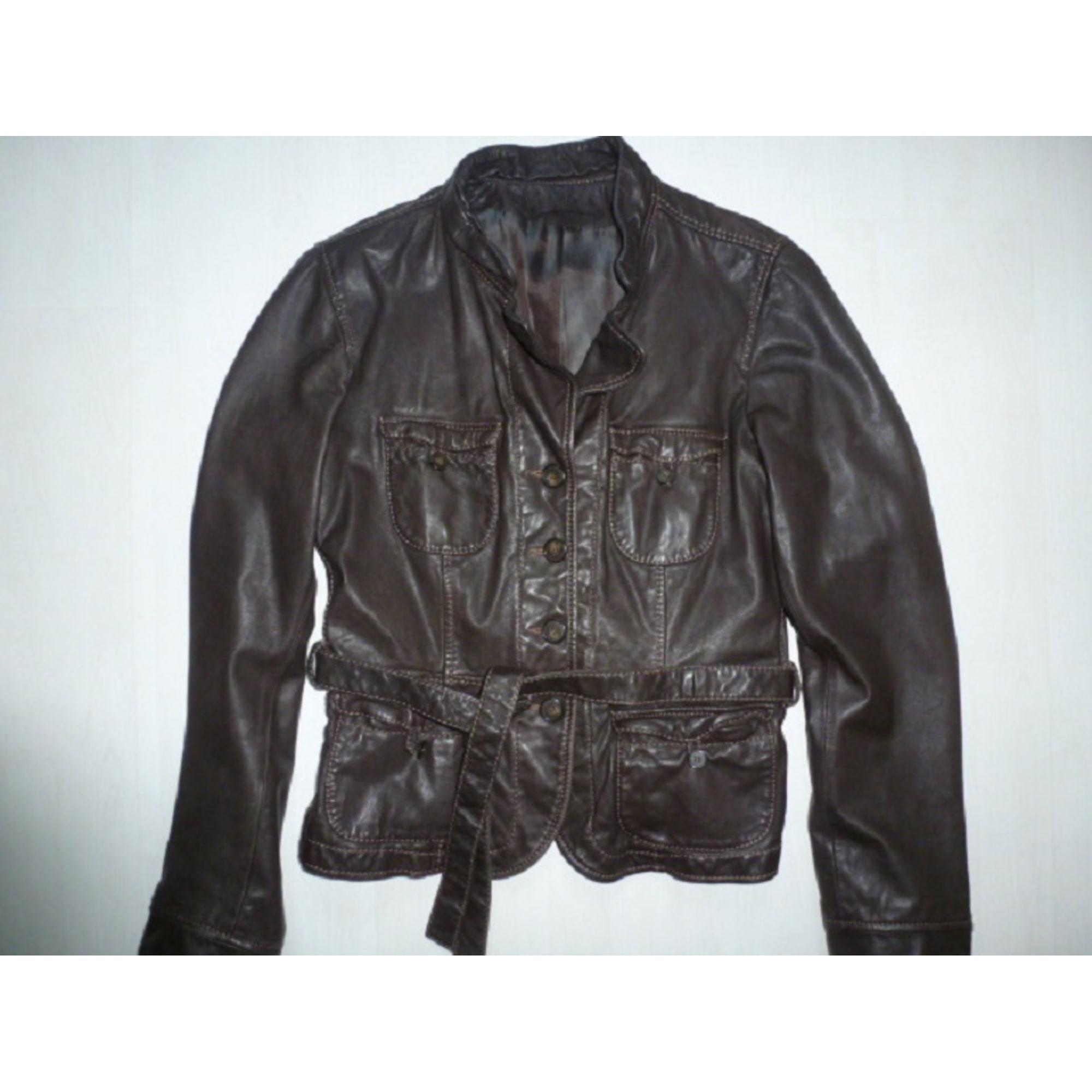 Veste en cuir CAROLL 38 (M, T2) marron - 6838114 61d9b2ce61b