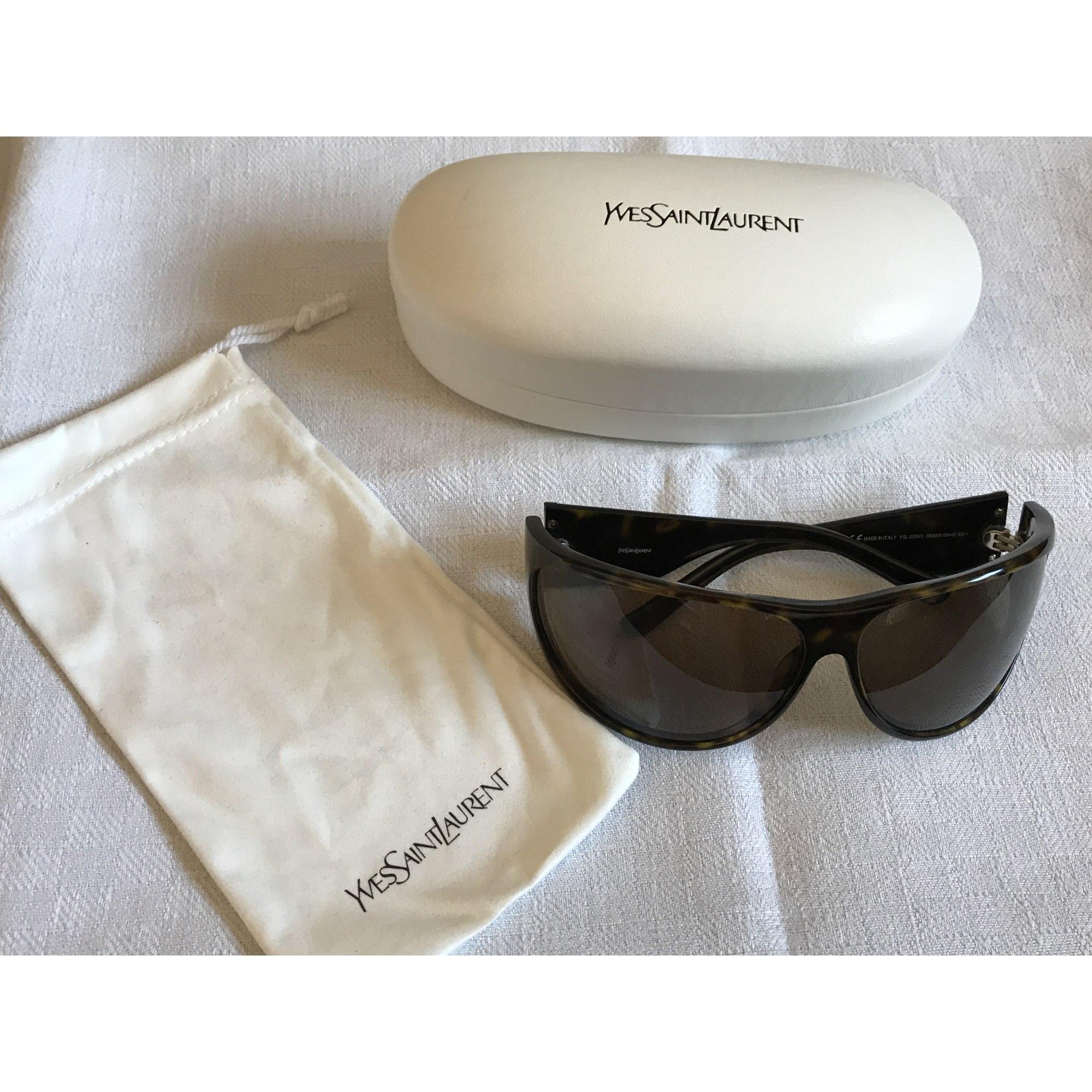 lunettes de soleil yves saint laurent marron 6890471. Black Bedroom Furniture Sets. Home Design Ideas
