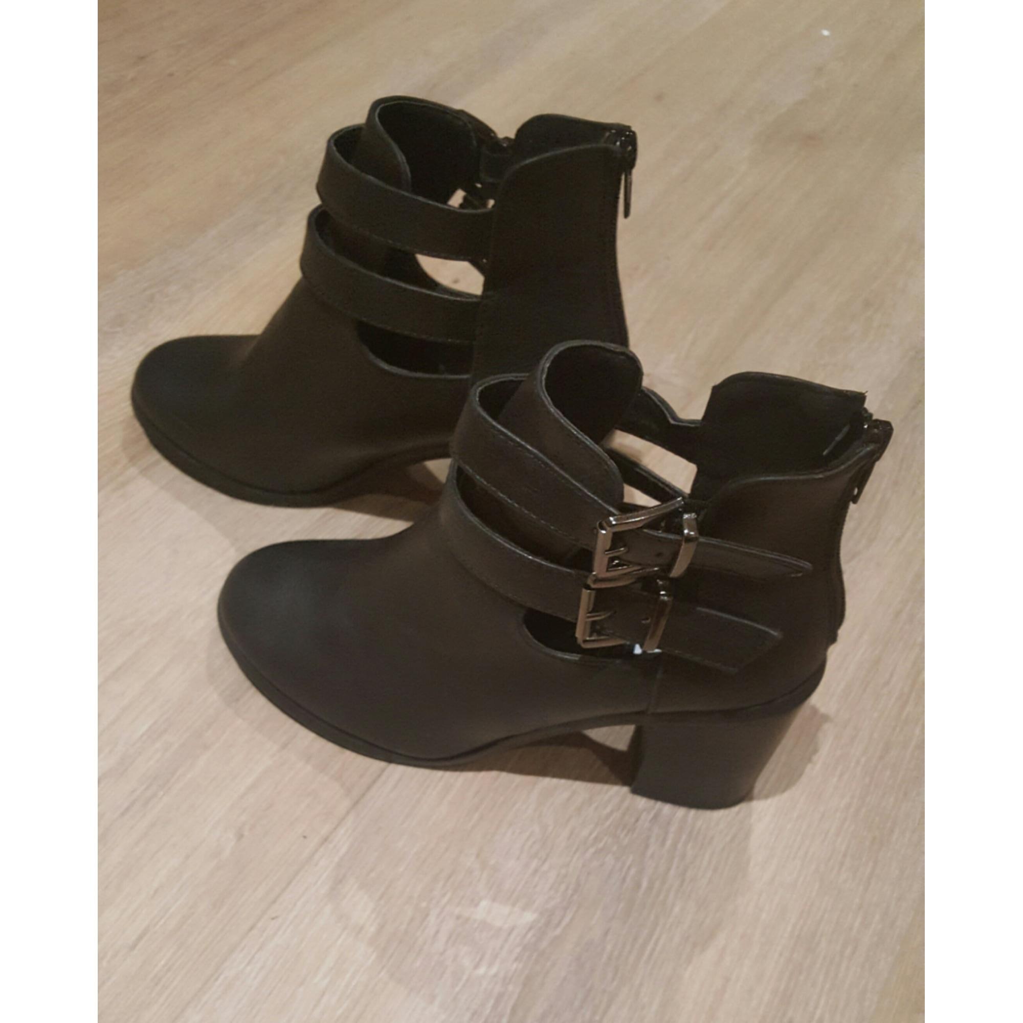 Bottines Low Boots A Talons Kiabi 37 Noir 6923980