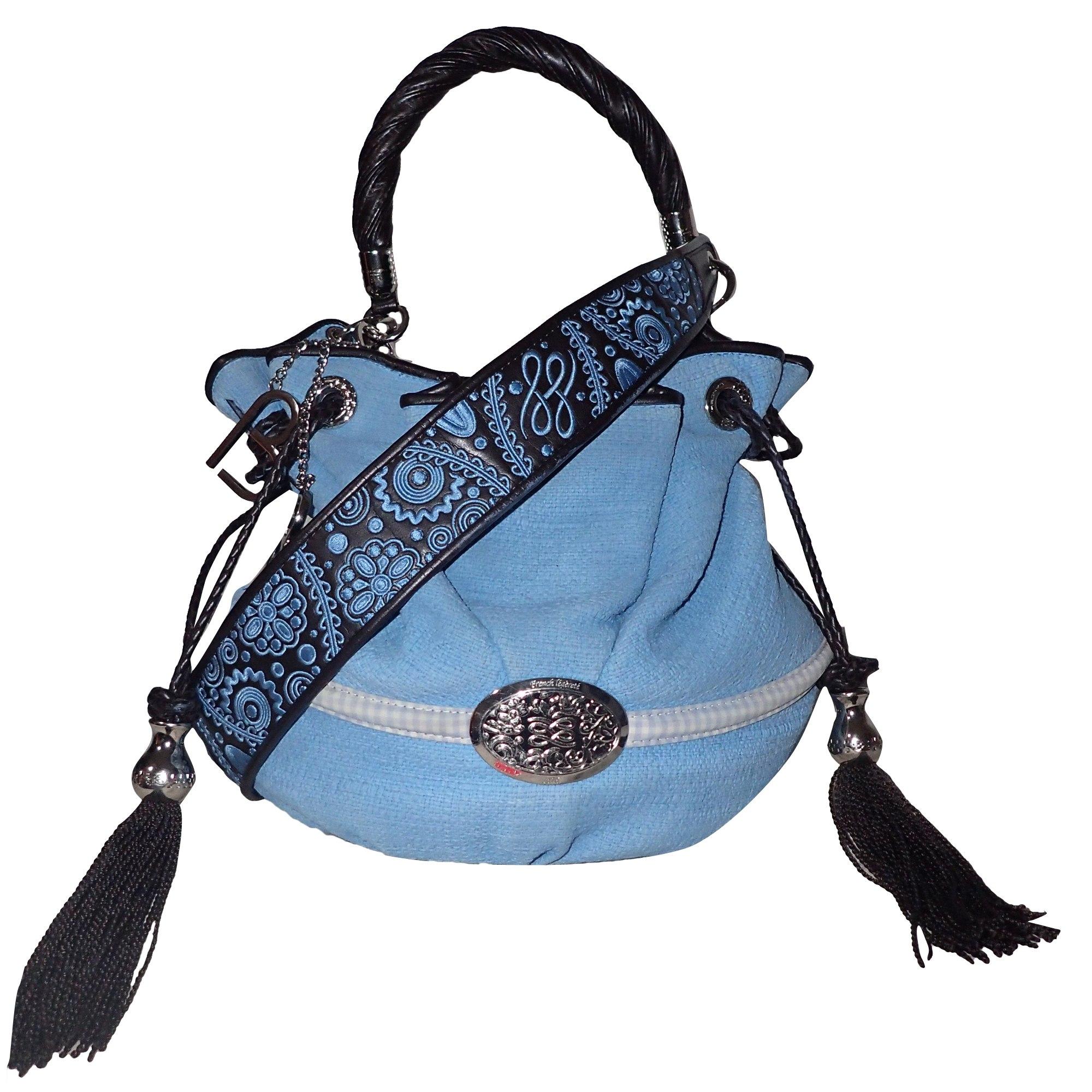 2f4482af796d Sac à main en tissu LANCEL Brigitte Bardot Bleu, bleu marine, bleu turquoise