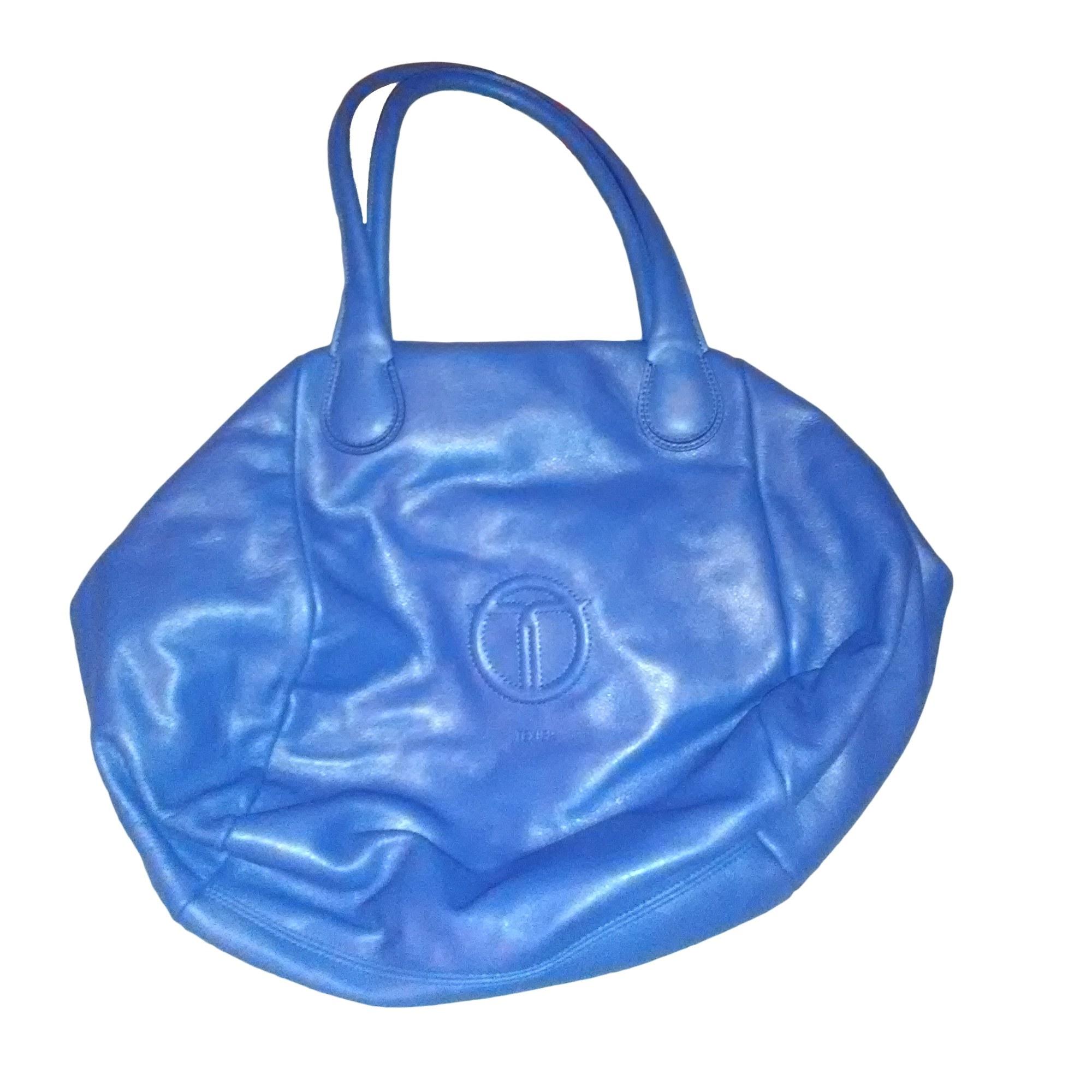 6280b92282 Sac à main en cuir TEXIER Bleu, bleu marine, bleu turquoise