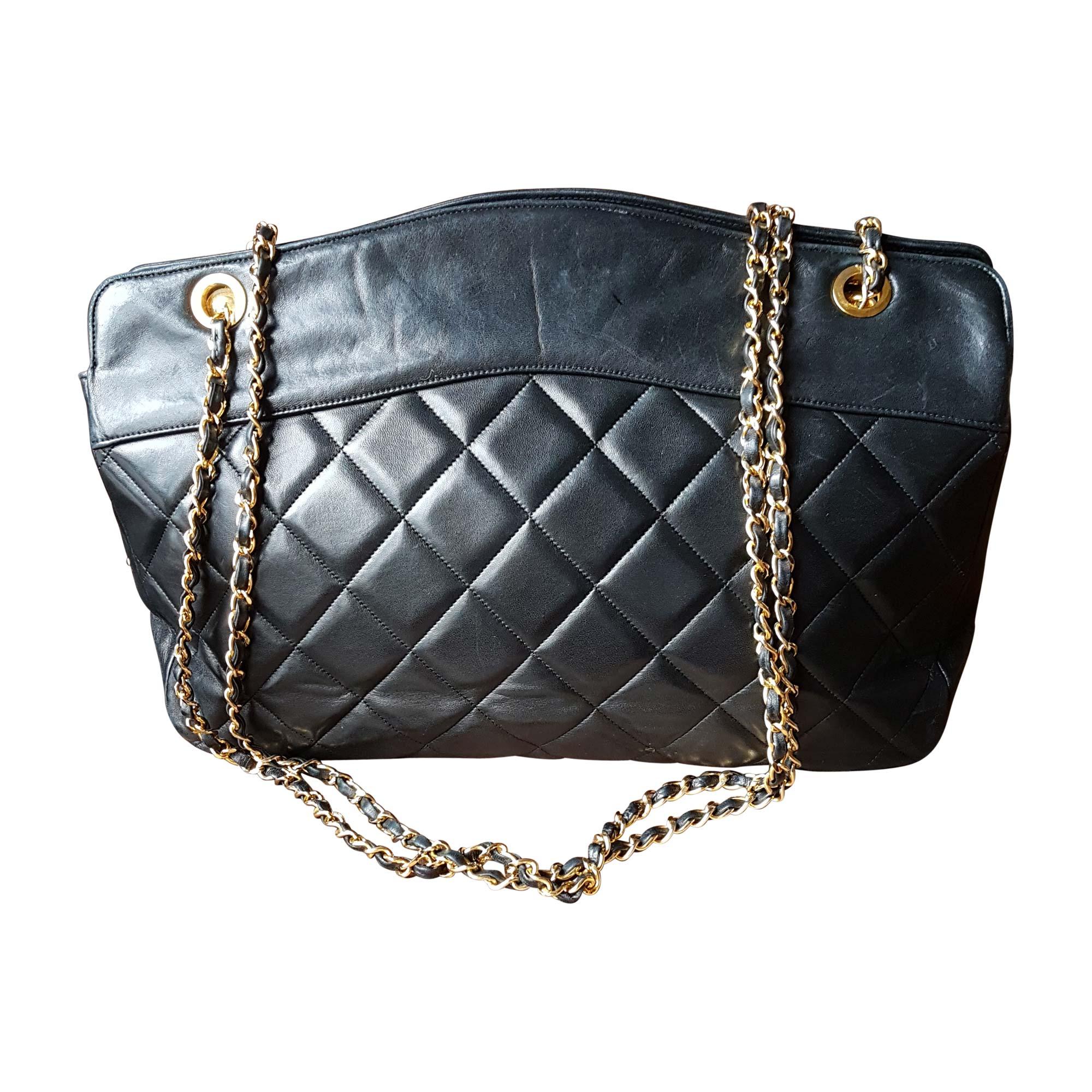 95d9eb13c53a Sac en bandoulière en cuir CHANEL shopping noir - 7009164