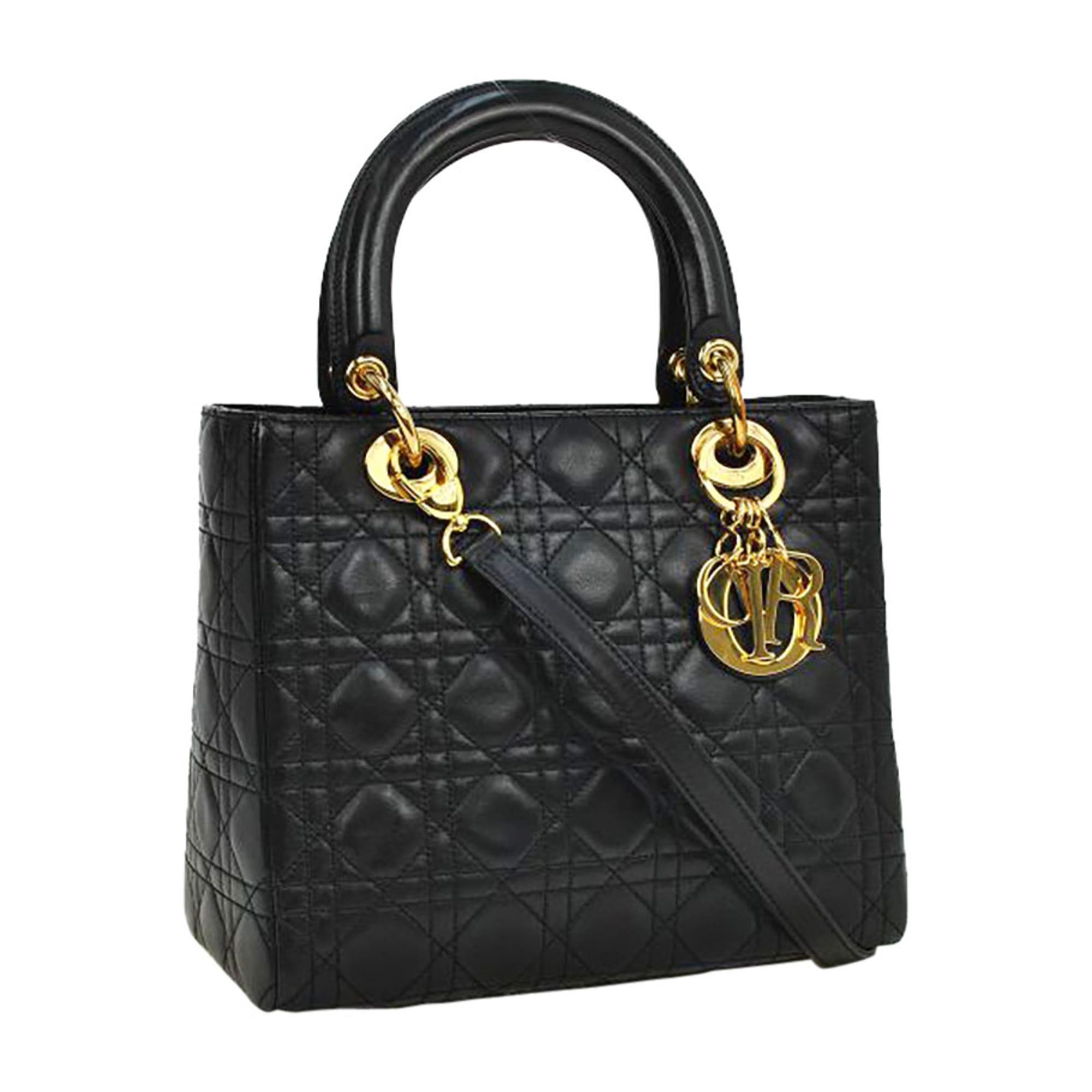 c41d517154 Sac à main en cuir DIOR lady dior noir - 7028290