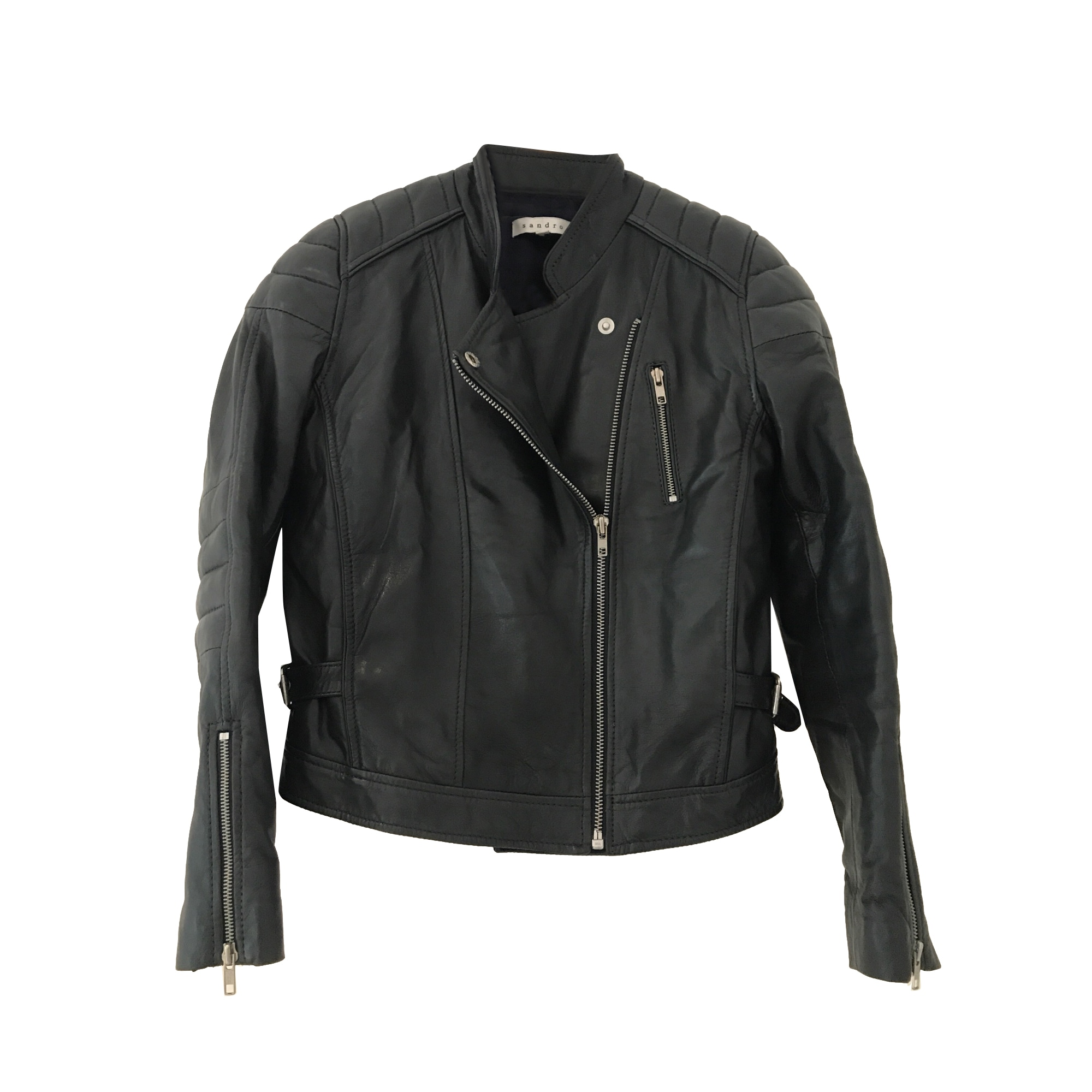 Blouson en cuir SANDRO 38 (M, T2) noir vendu par Scarlett 98 - 7039304 31df9d88c87