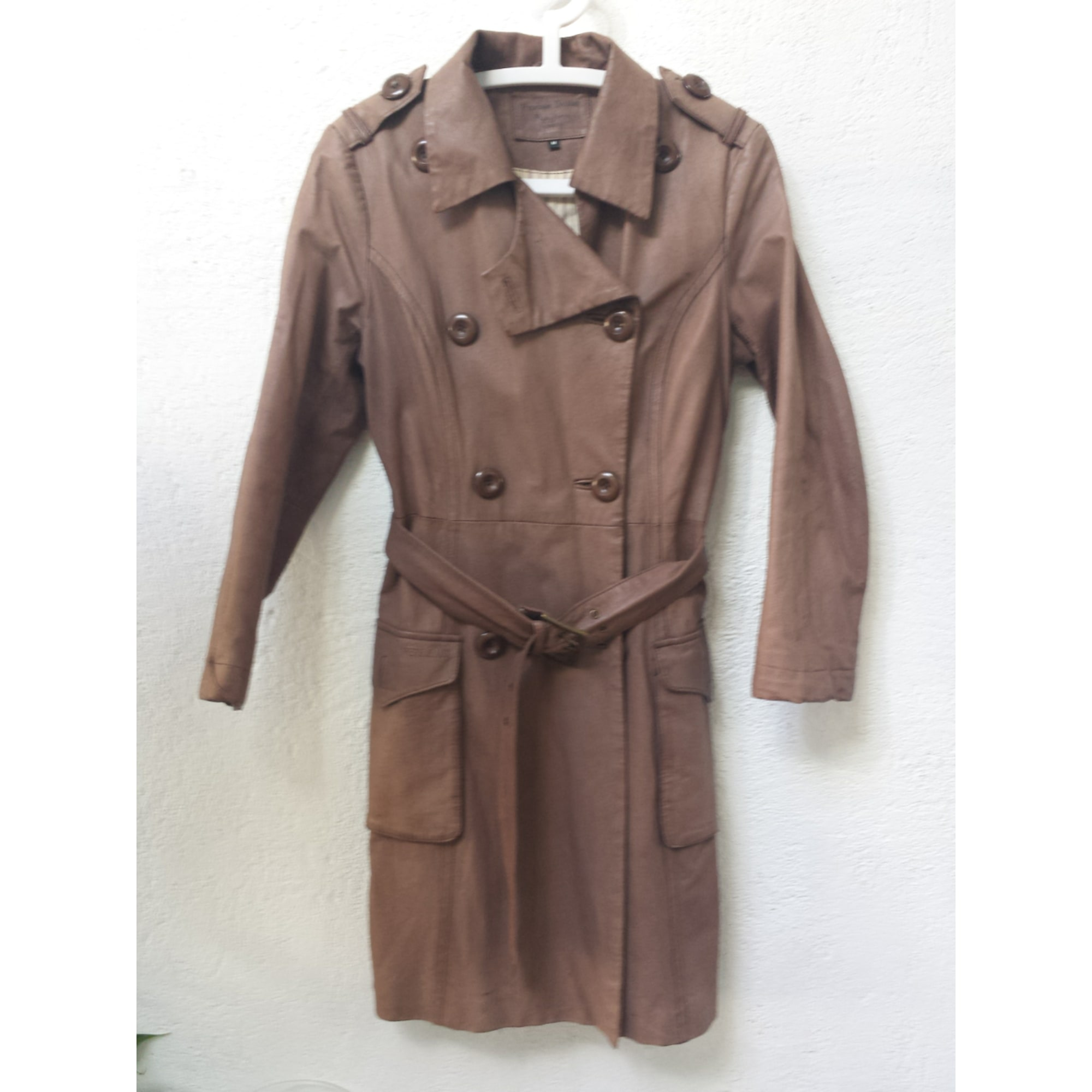 Leather Coat PEPE JEANS Brown