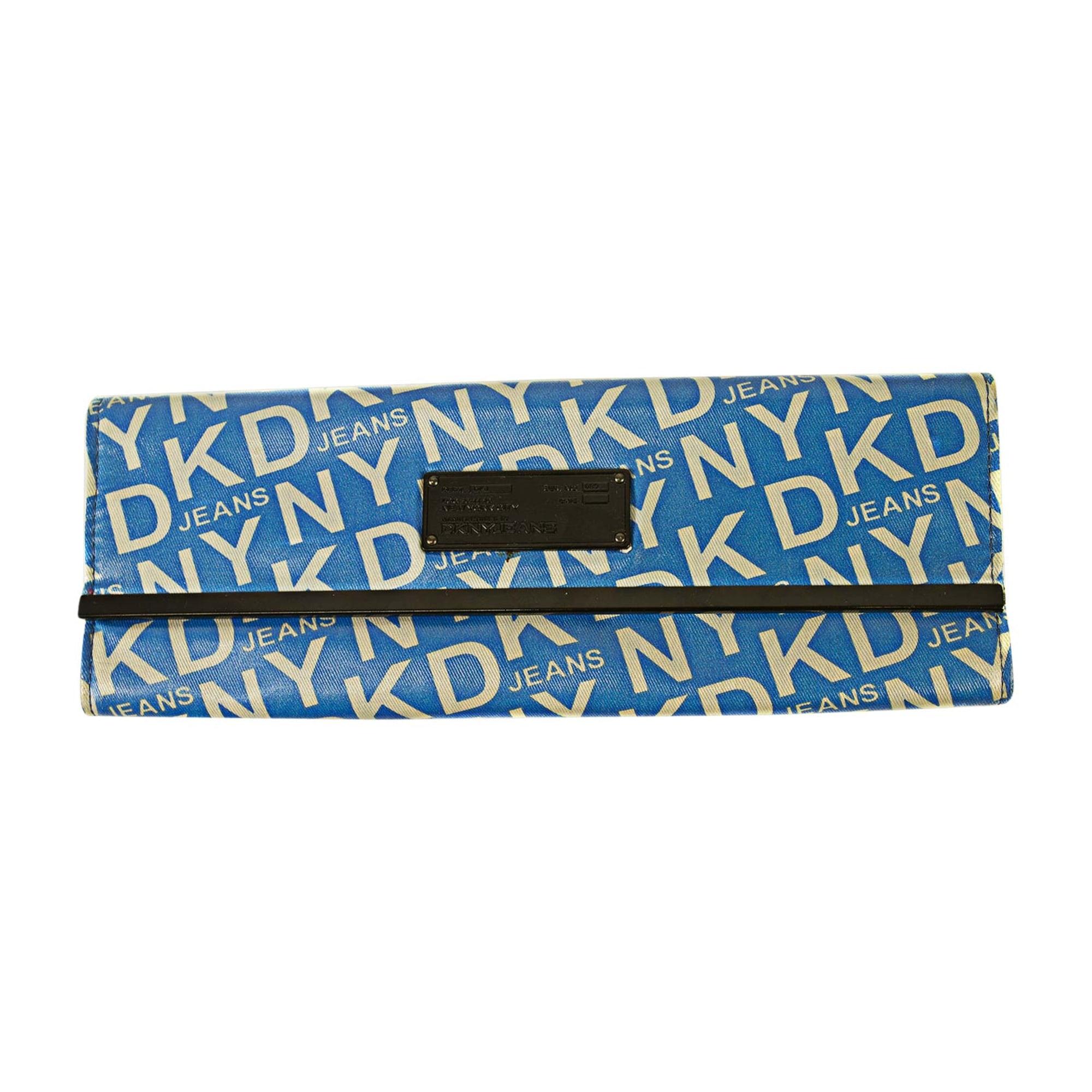 Sac pochette en tissu DONNA KARAN canvas bleu