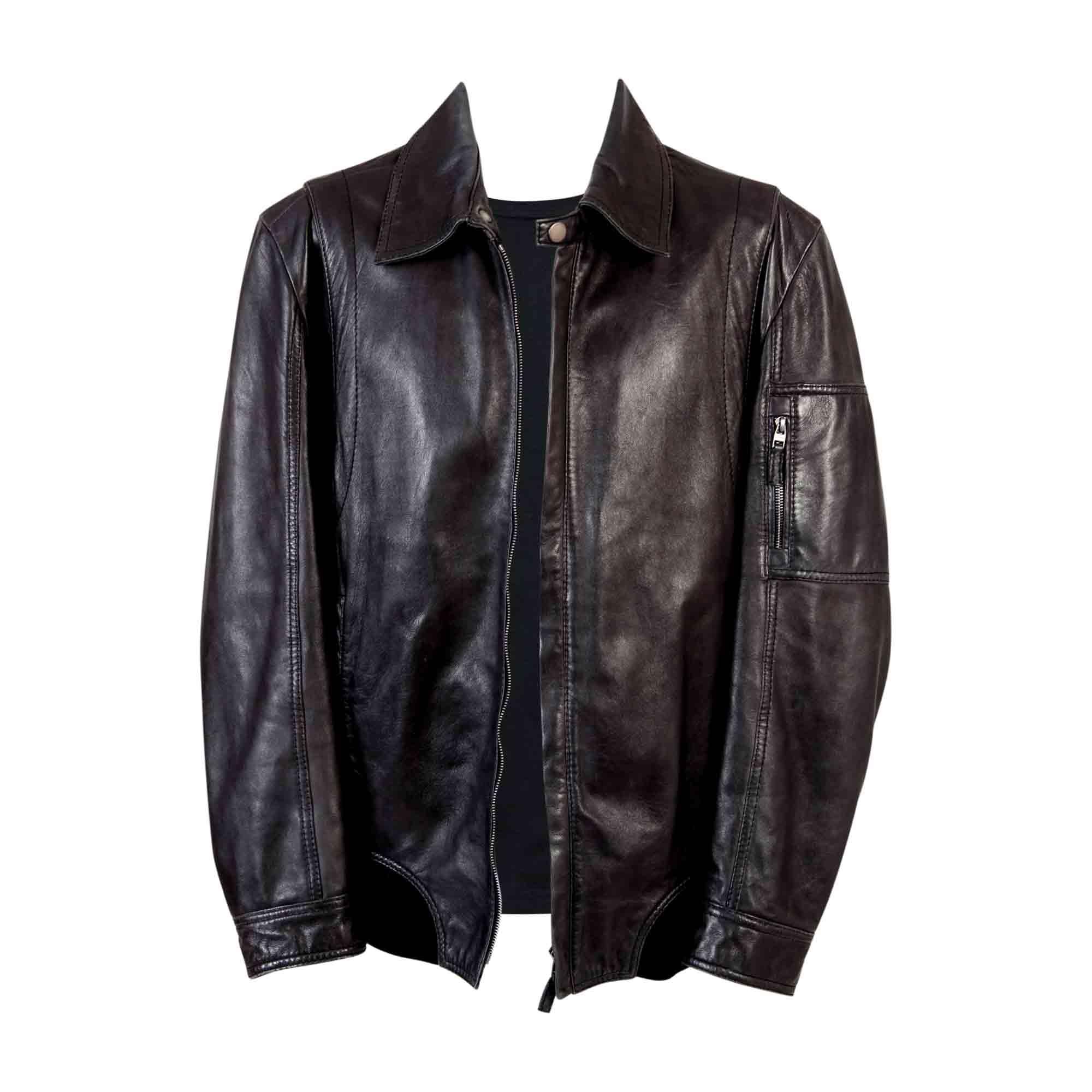 Blouson en cuir HUGO BOSS 56 (XL) noir vendu