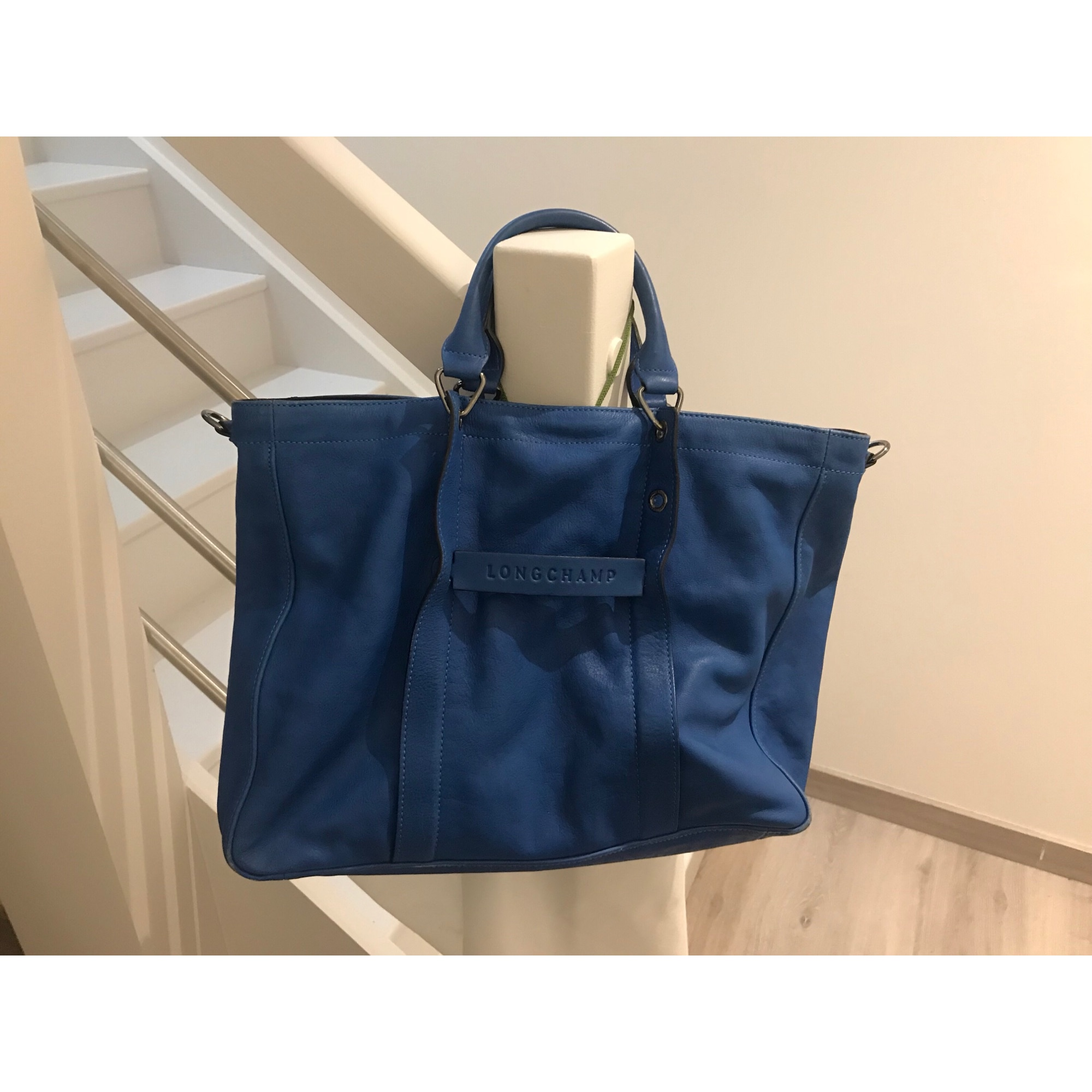 Leather Venduto Longchamp 7094867 Blue Lumpy da Handbag O804qxp