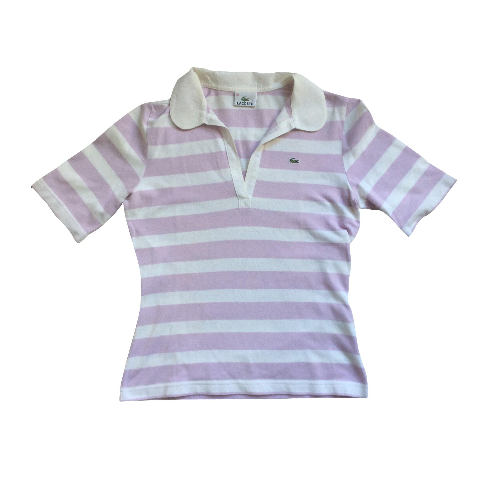 ee0b1706fd87 Polo LACOSTE Violet parme et blanc
