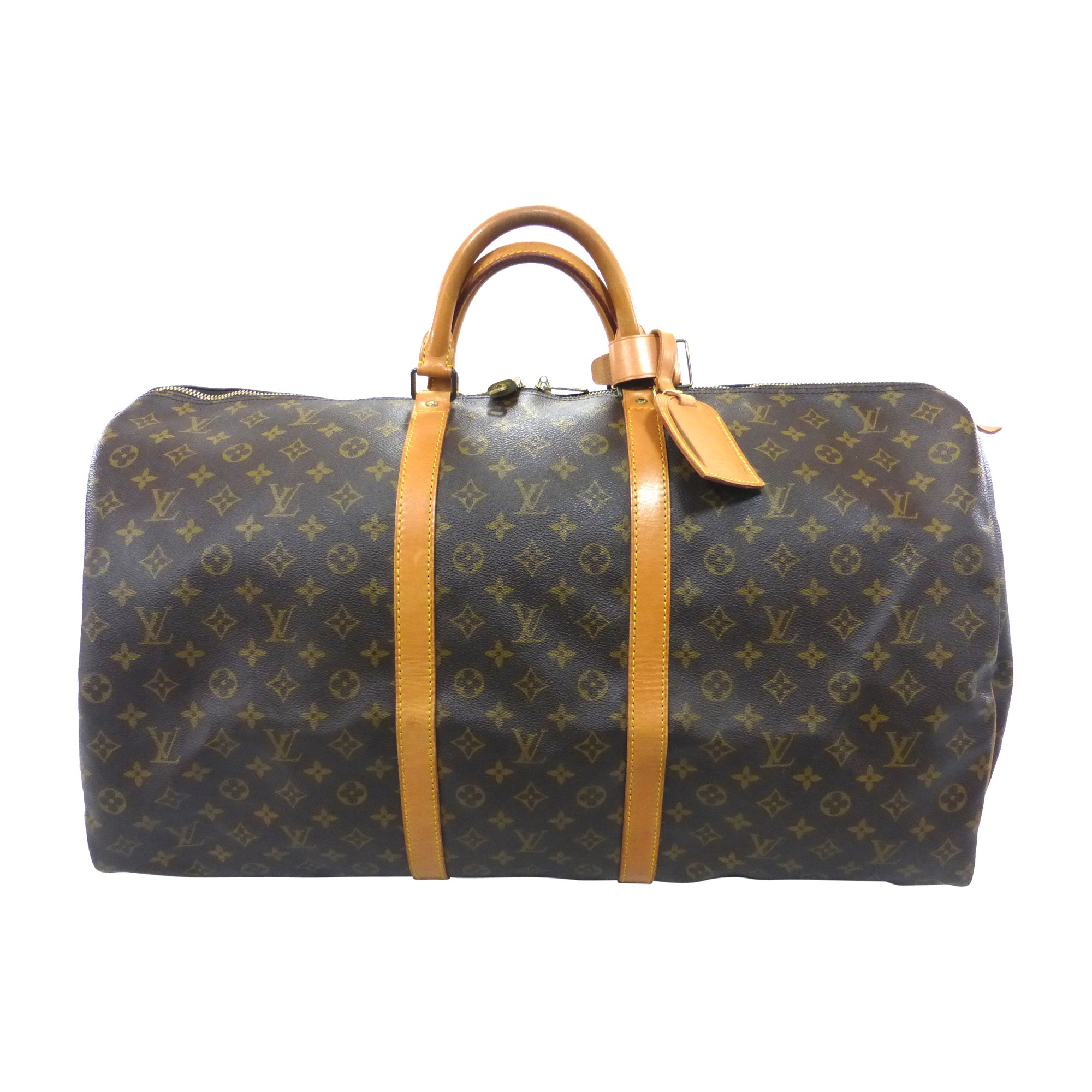 4ad9c74edb00 Sac XL en cuir LOUIS VUITTON keepall marron vendu par Bibag - 7151762