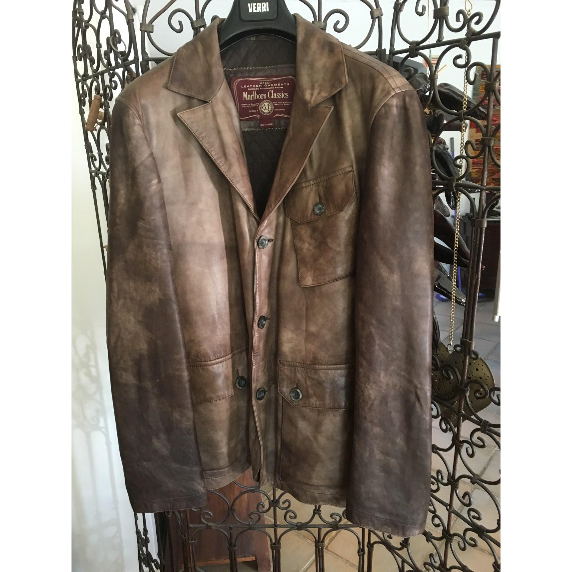 Veste manteau manche cuir