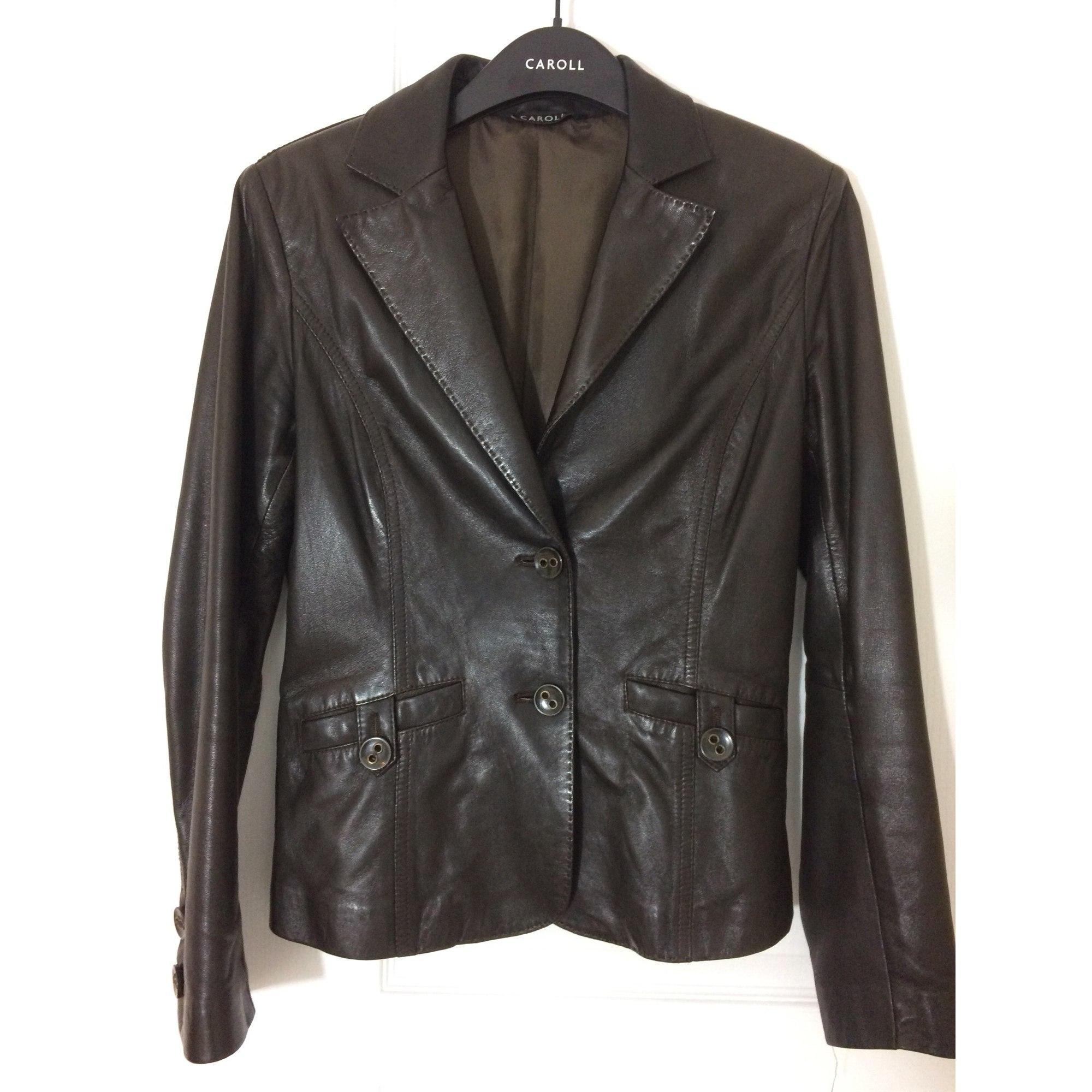 72430f2d7122 Veste en cuir CAROLL 36 (S, T1) marron vendu par Marytchou - 7199452