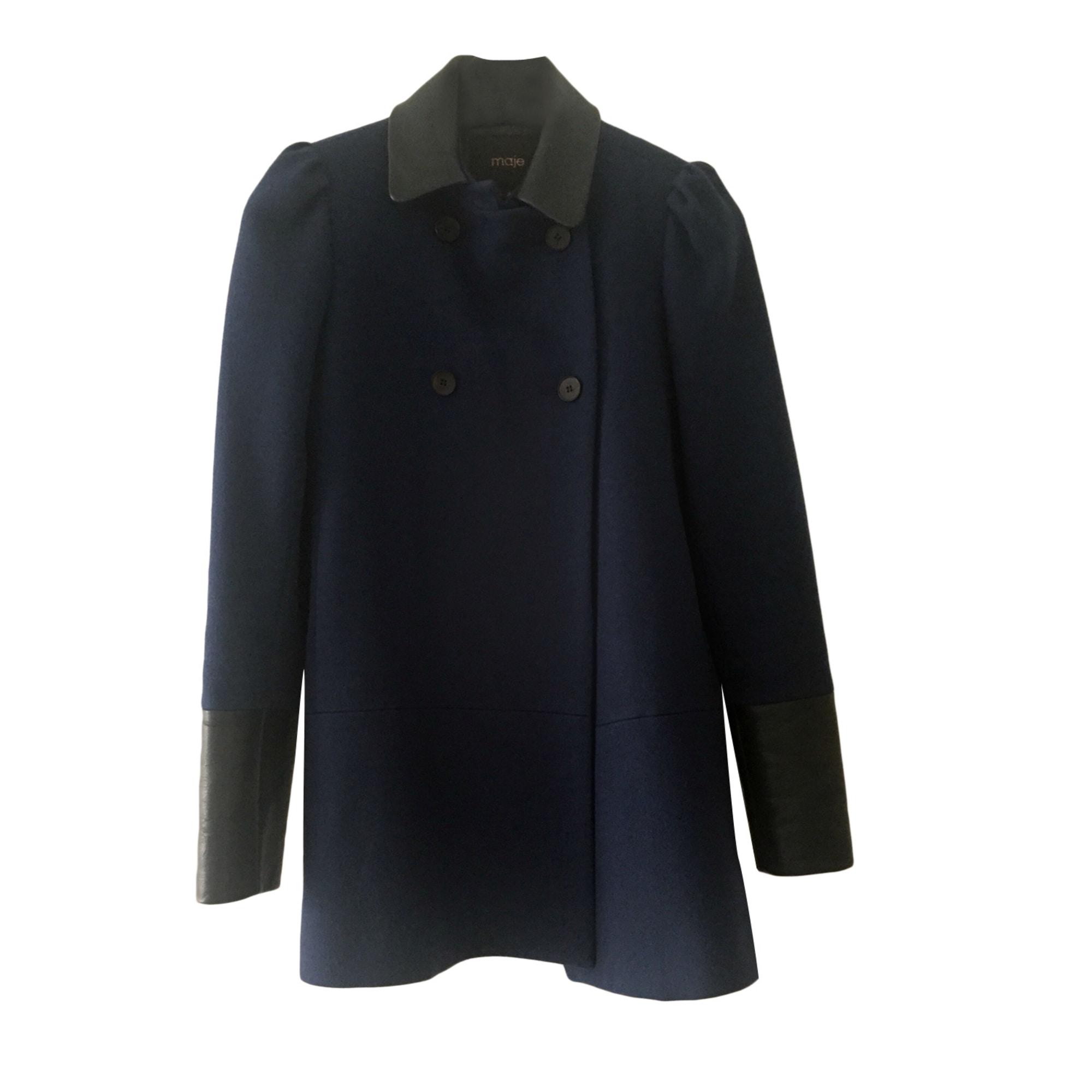 manteau maje bleu marine colle claudine