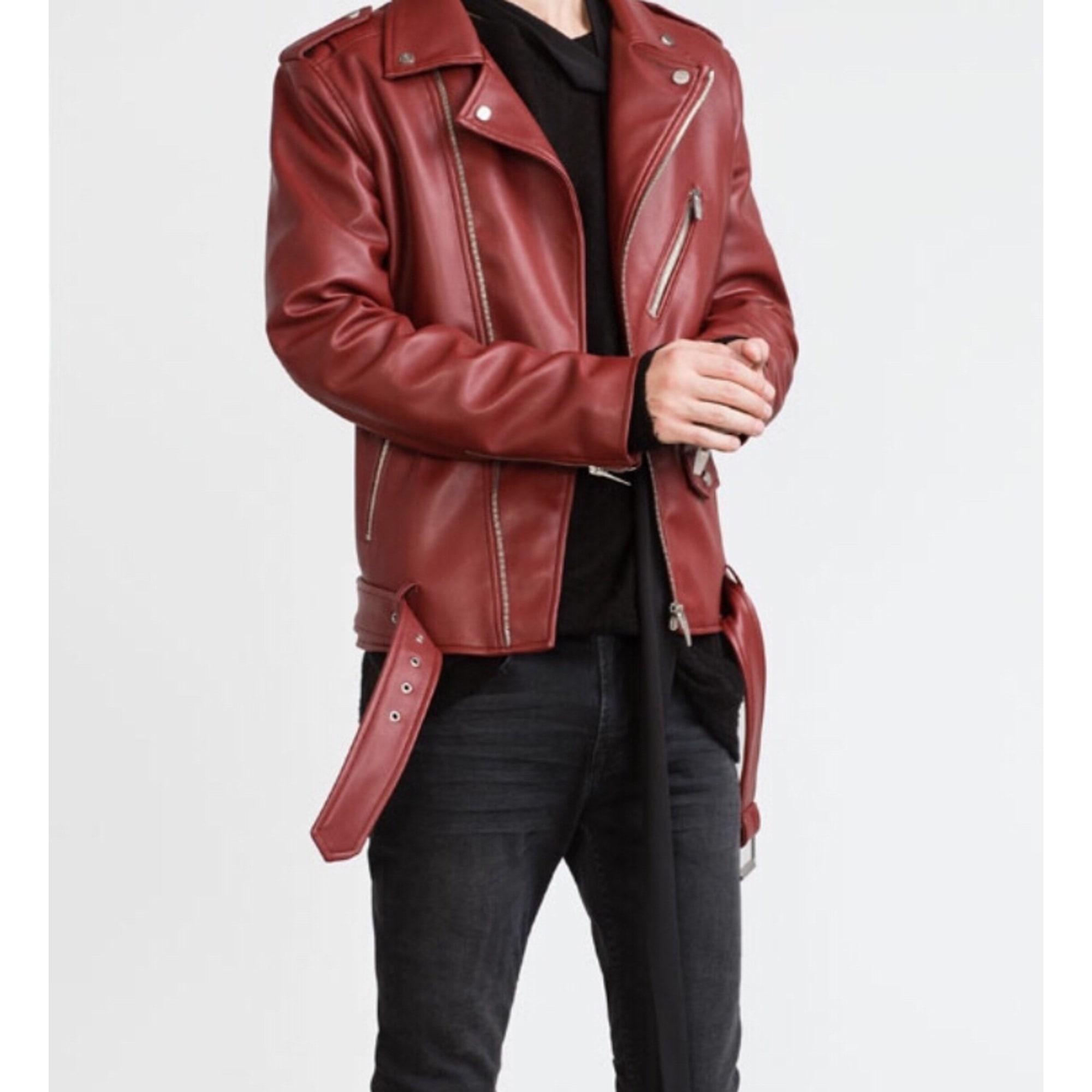 Veste cuir rouge bordeaux