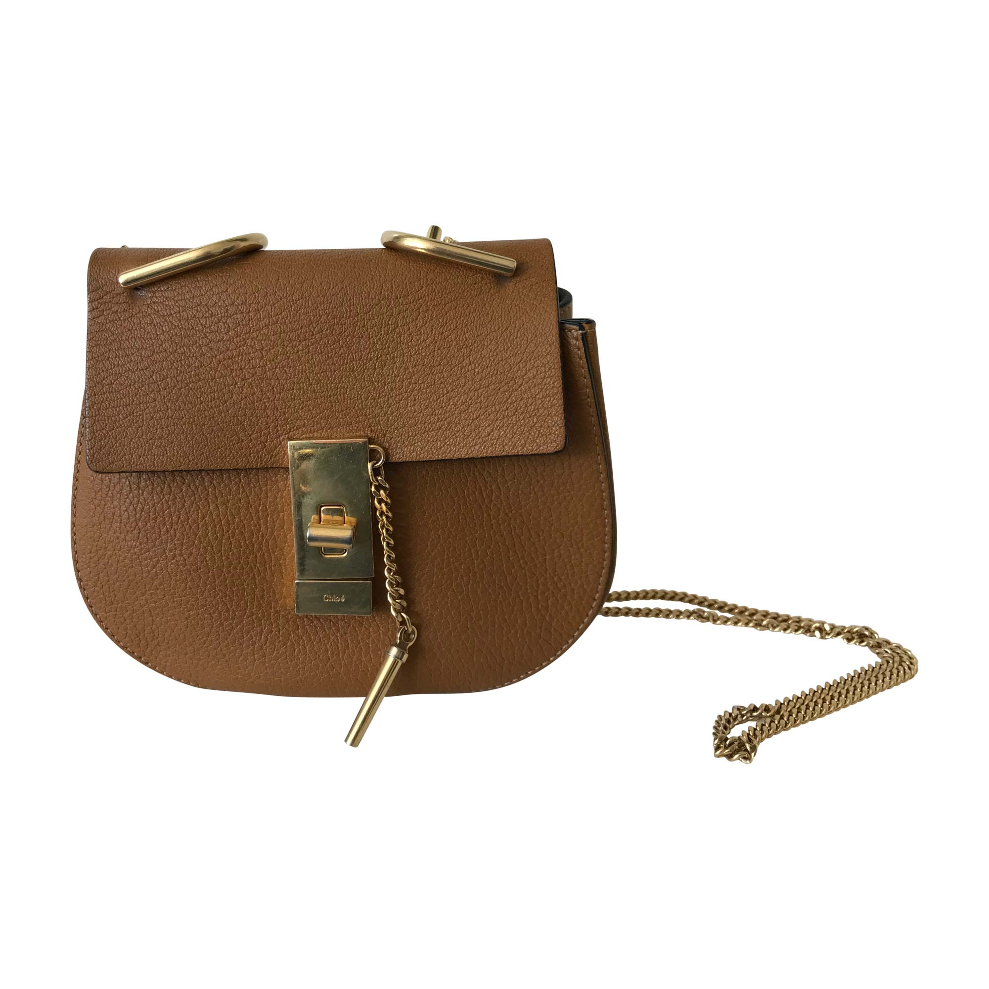 Leather Shoulder Bag CHLOÉ Drew Beige, camel