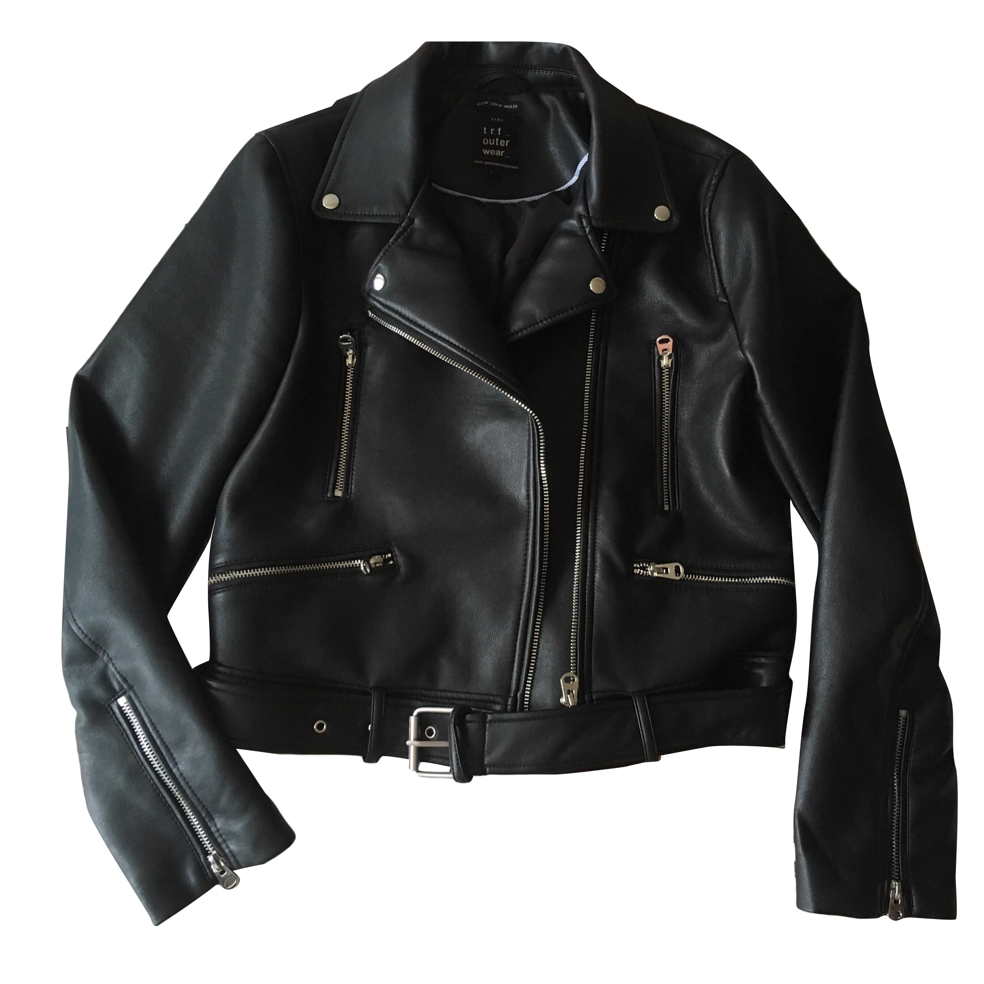 Leather Jacket ZARA Black