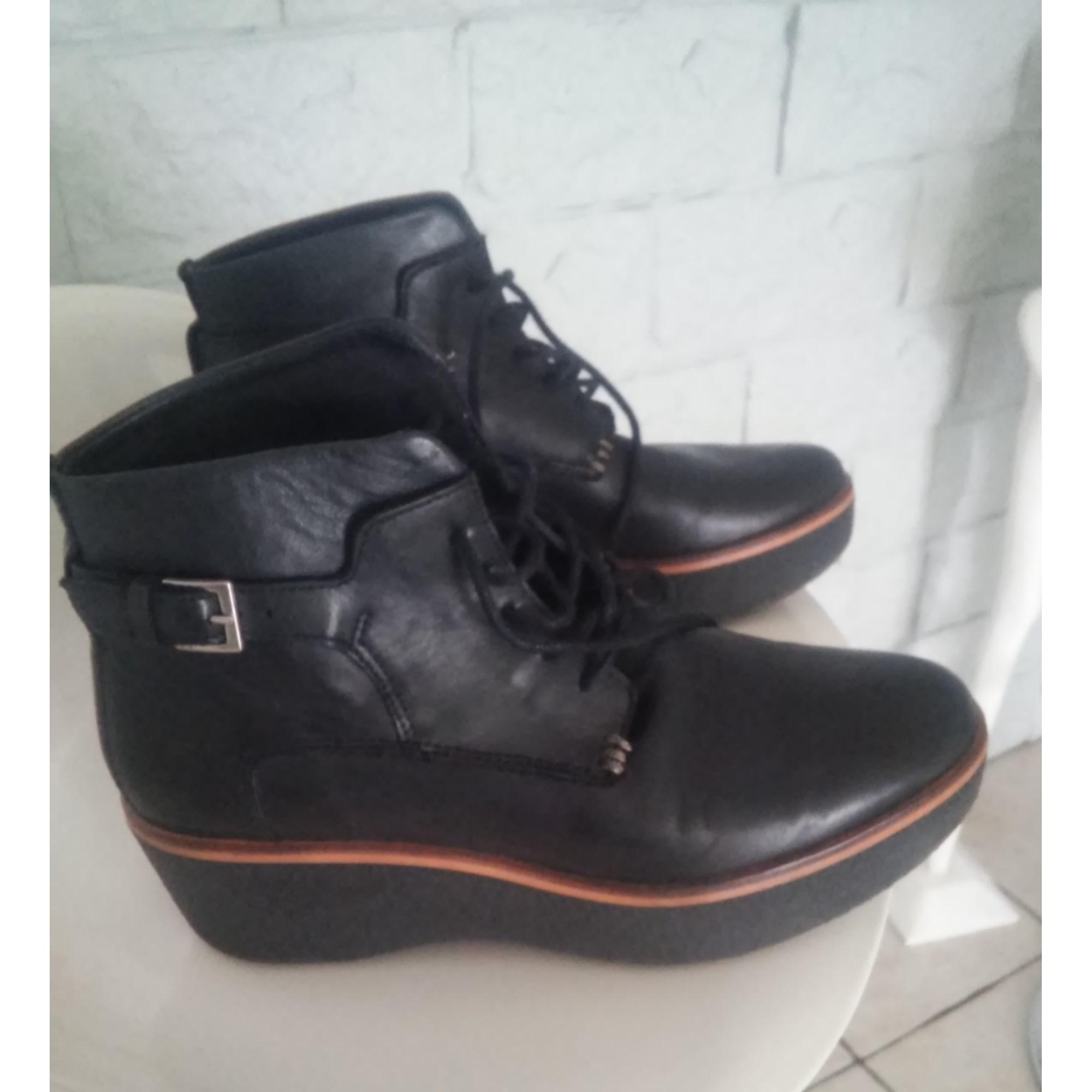 À Boots Kickers Low Noir amp; 37 Par Mo73 Compensés Bottines Vendu xnUHZwP