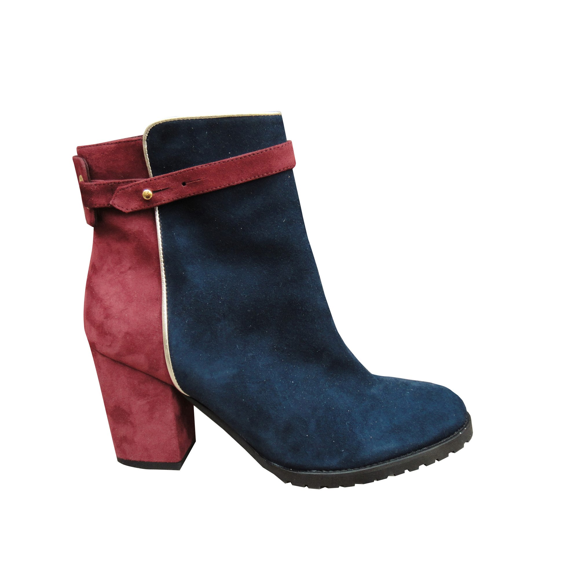 0189f02366bdff Bottines & low boots à talons PAUL & JOE SISTER bordeaux et bleu. PROMOFLASH