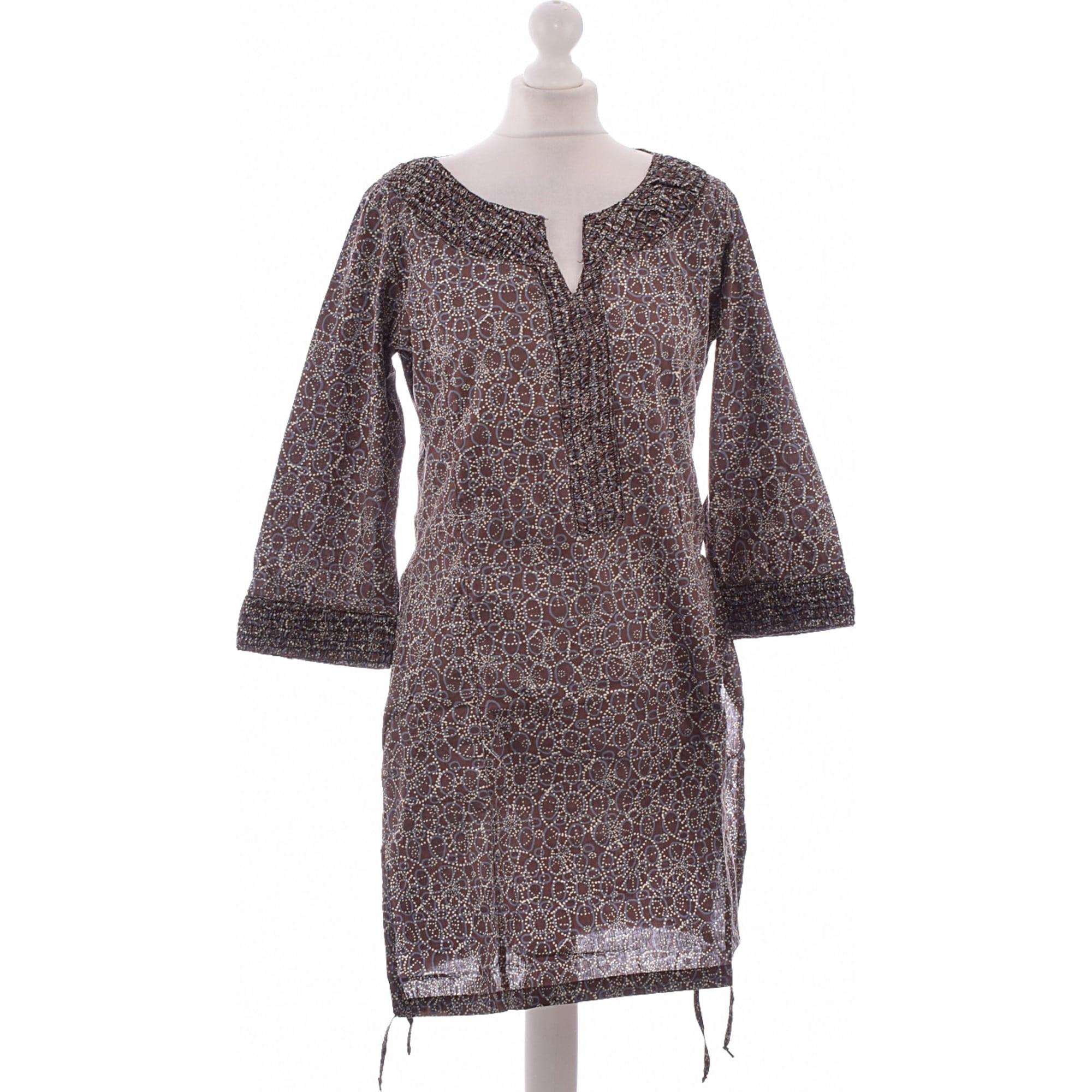 55f89f585a9 Robe courte MISS CAPTAIN Marron
