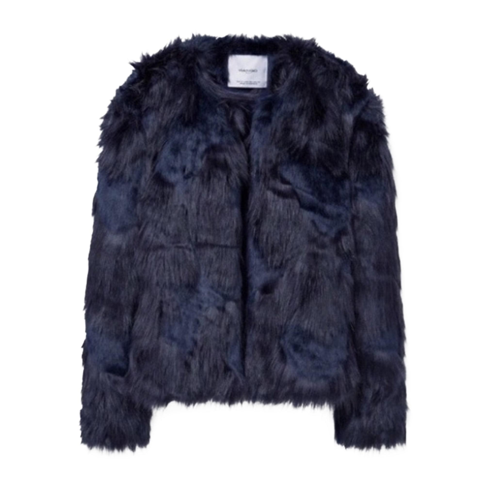 Manteau en fourrure MANGO Bleu, bleu marine, bleu turquoise 55b70e85cd70