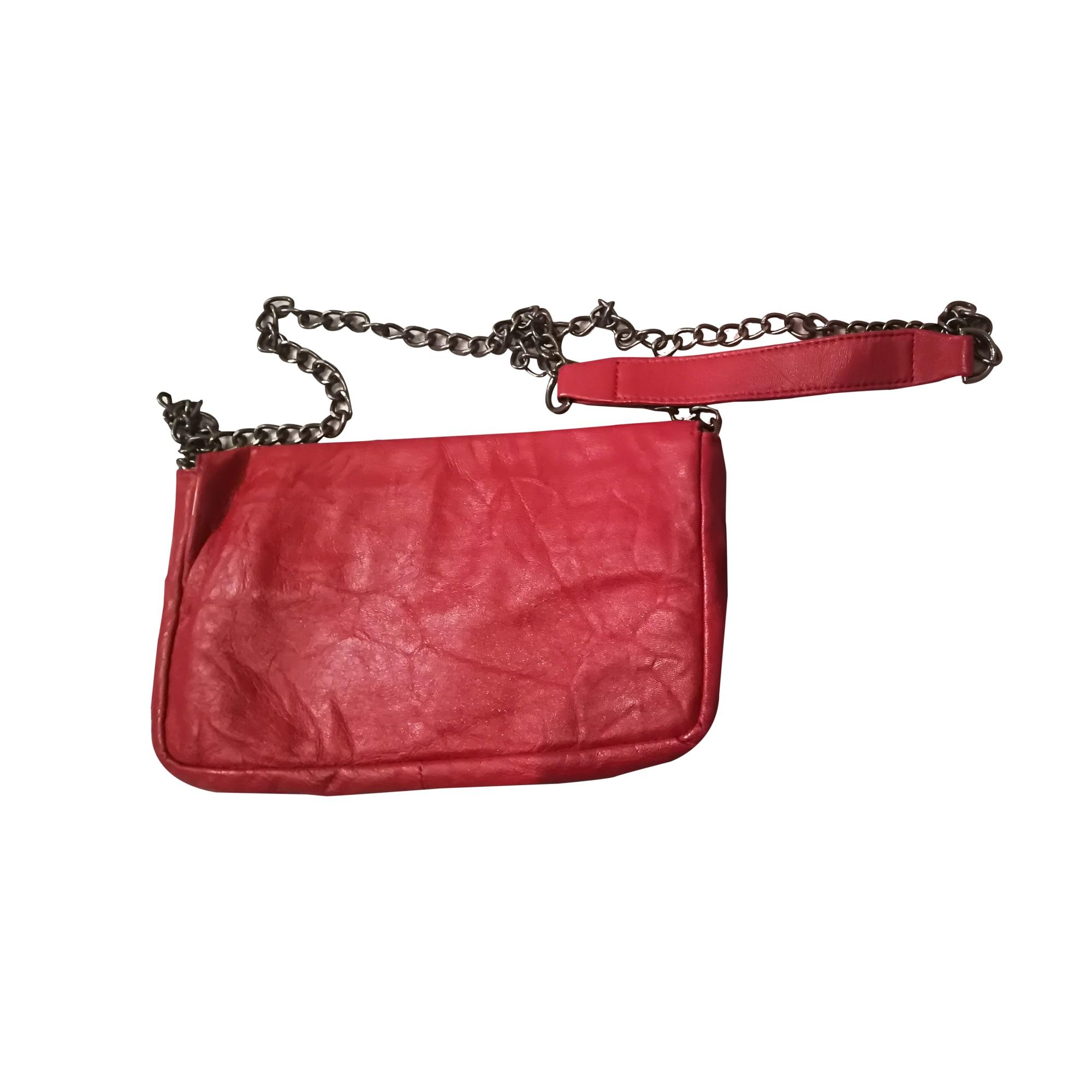 Sac pochette en cuir KOOKAI cuir rouge