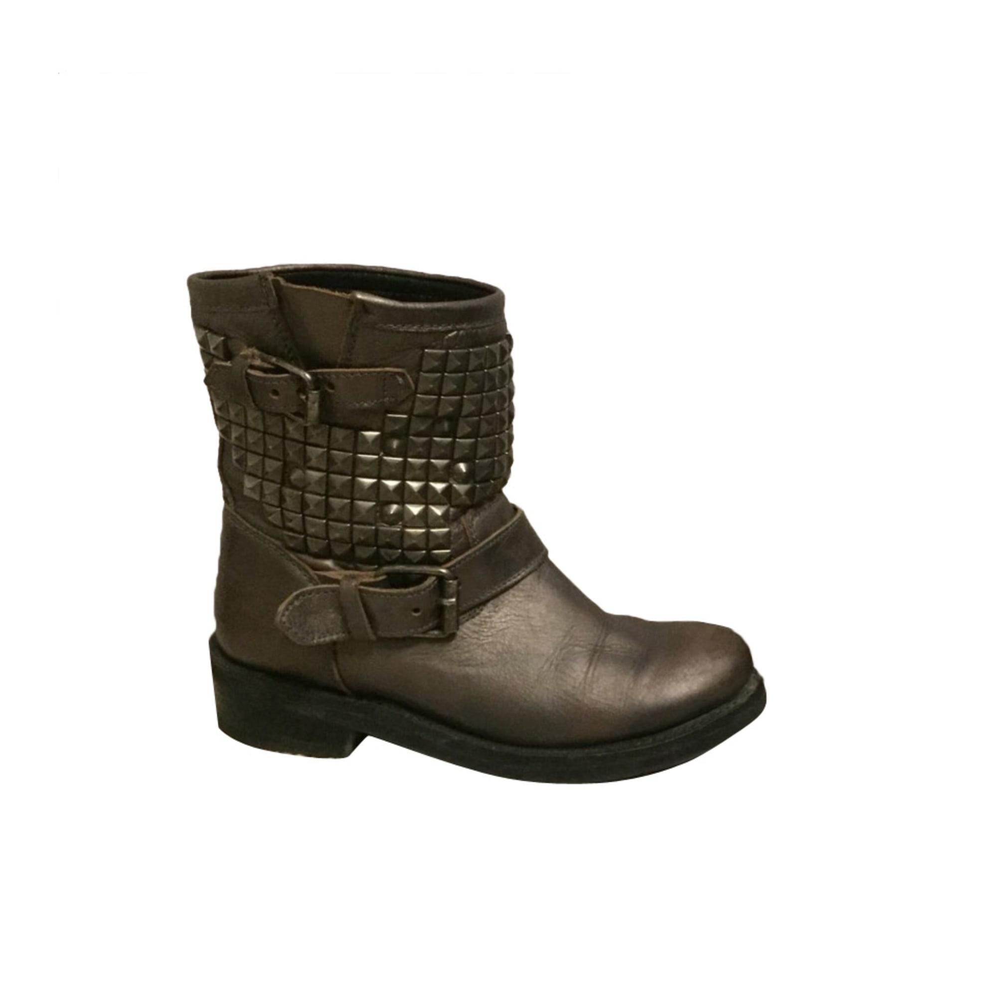Bottines & low boots motards ASH cuir doré 38 3JXGKi