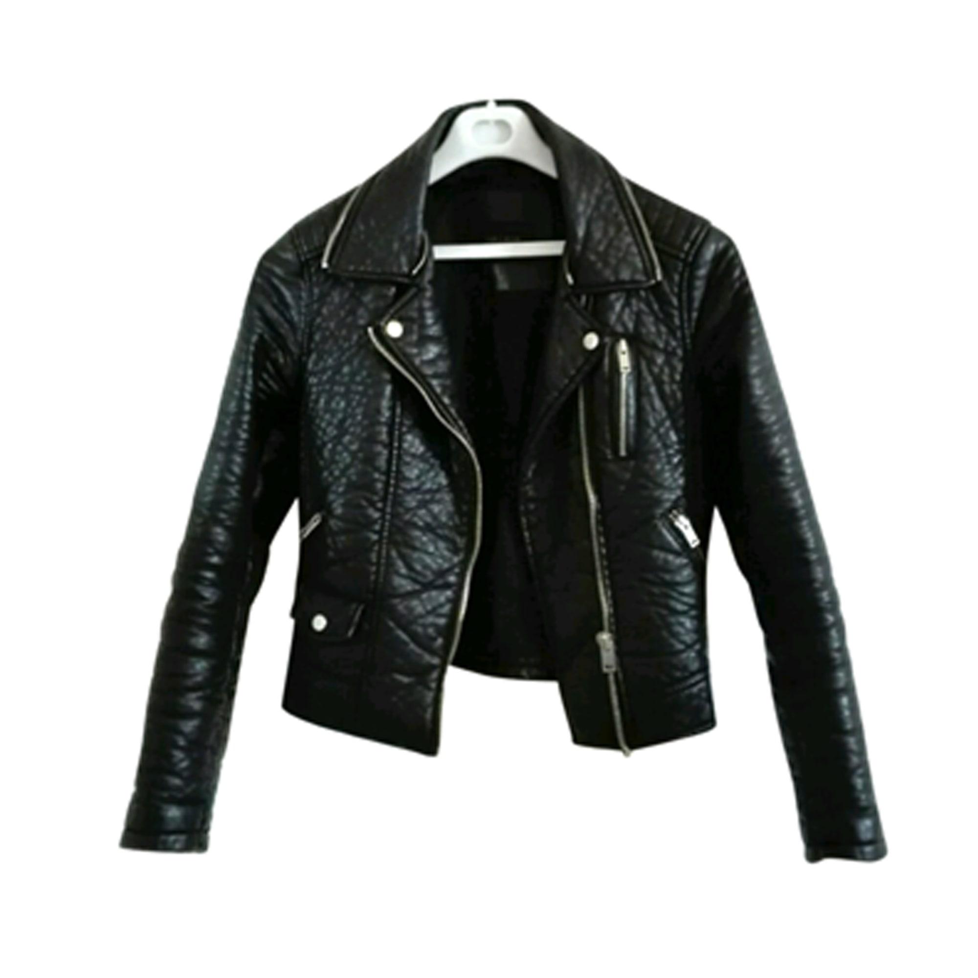 Veste en cuir noir pour fille