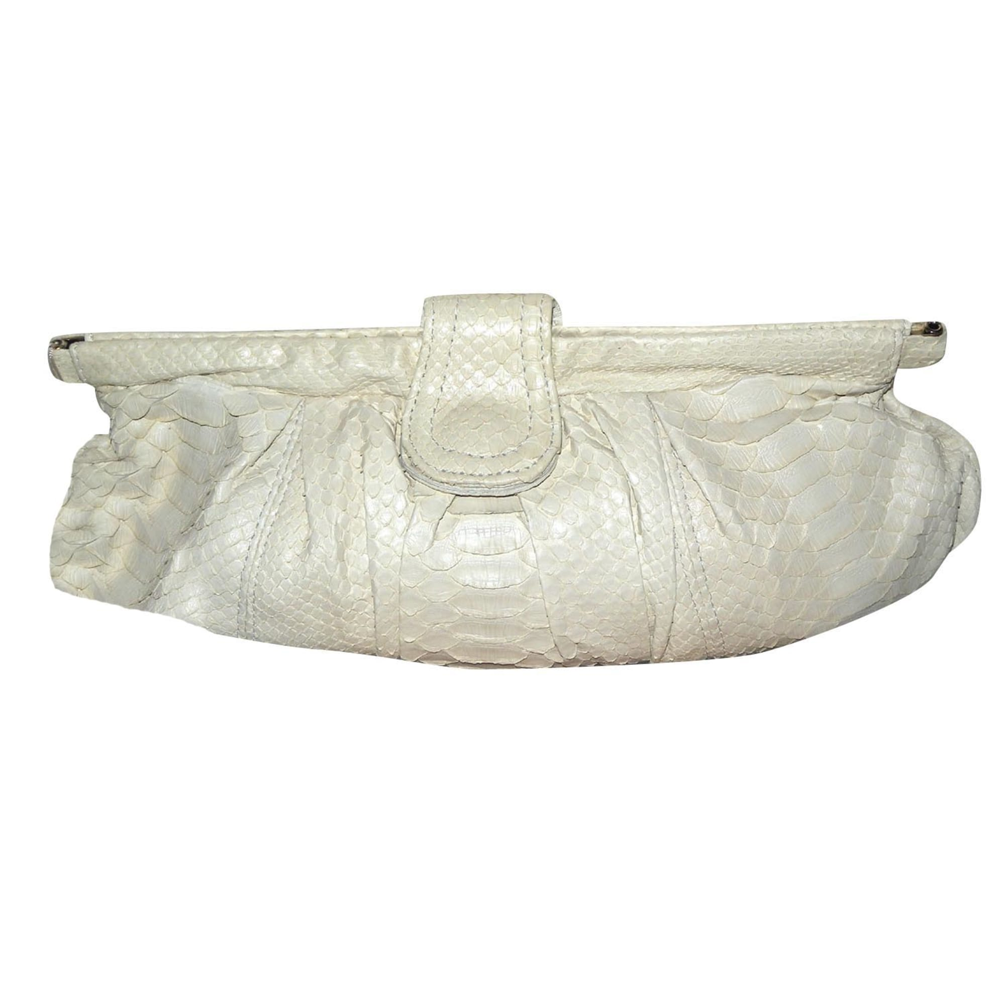 be1ab2e640 Sac pochette en cuir ABACO Blanc, blanc cassé, écru