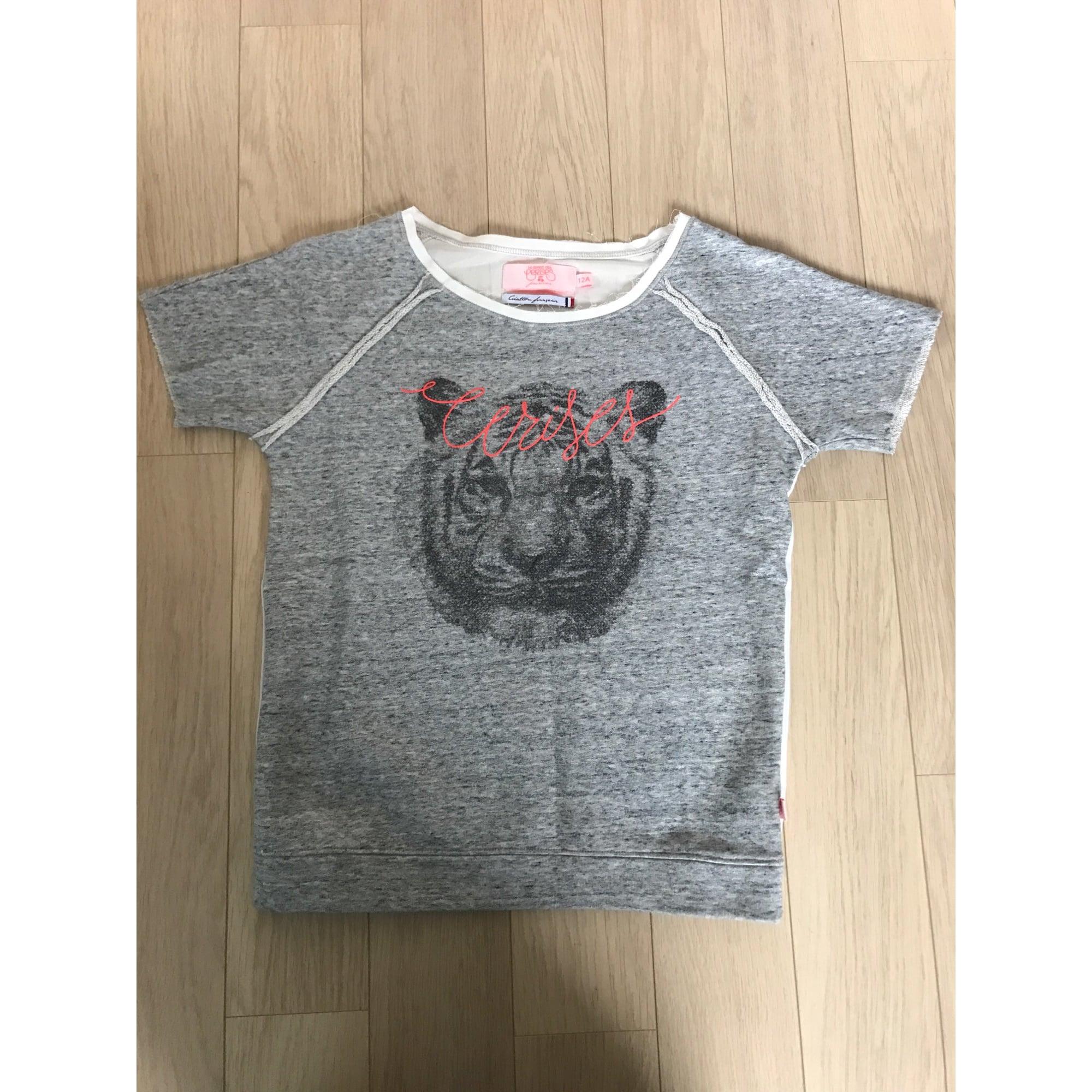 Top, Tee-shirt LE TEMPS DES CERISES coton gris 11-12 ans