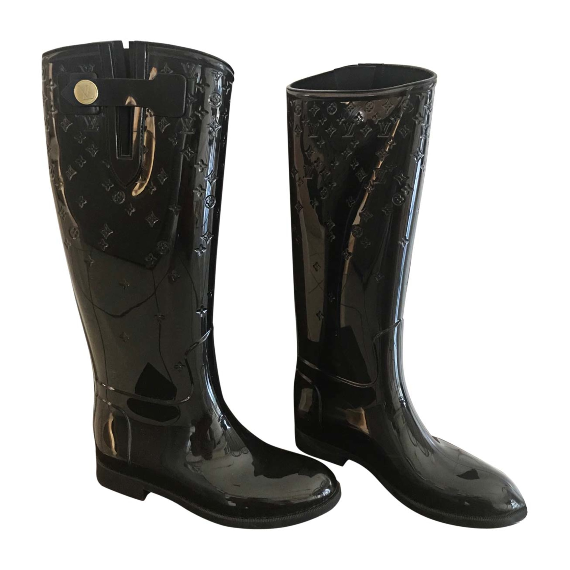 Bottes de pluie LOUIS VUITTON 37,5 noir - 7449606 262c60acda5