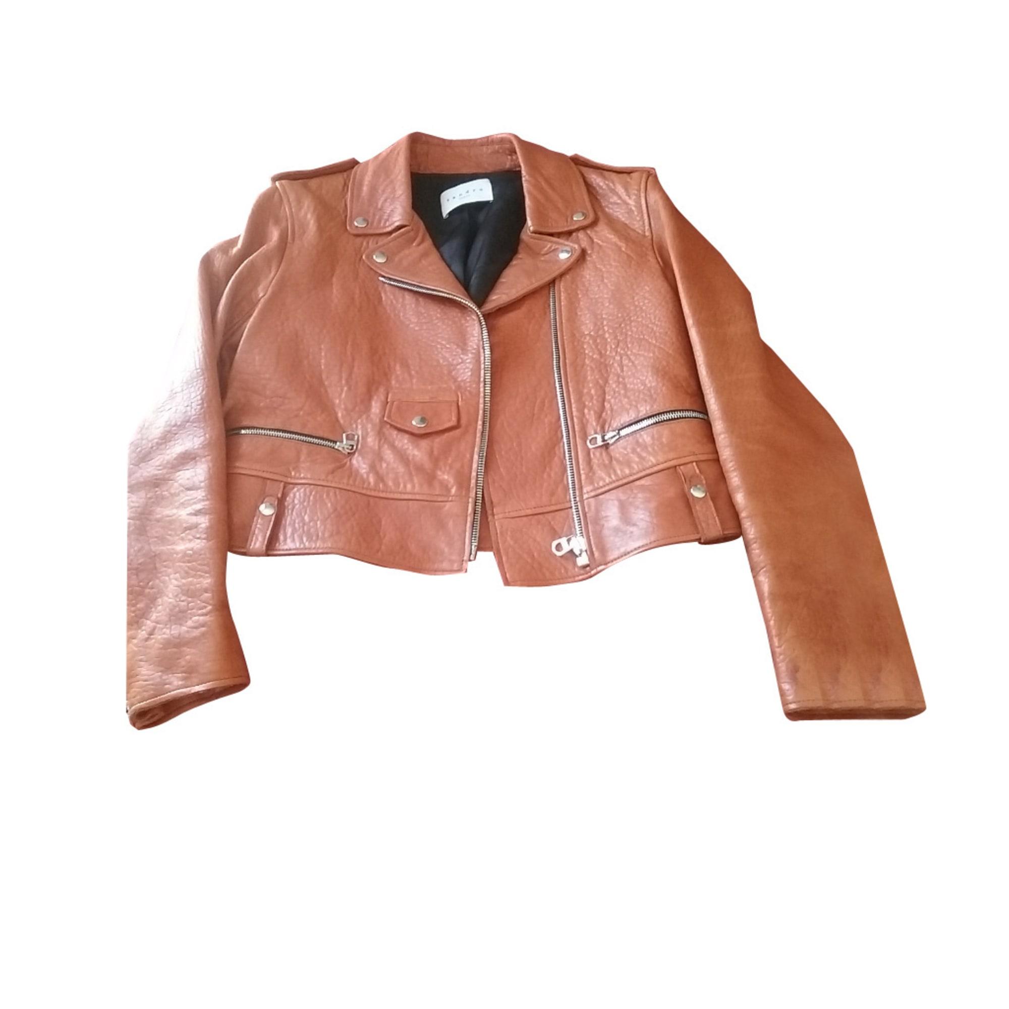 Blouson en cuir SANDRO 38 (M, T2) marron vendu par Veronique ... 7d9be3ff527