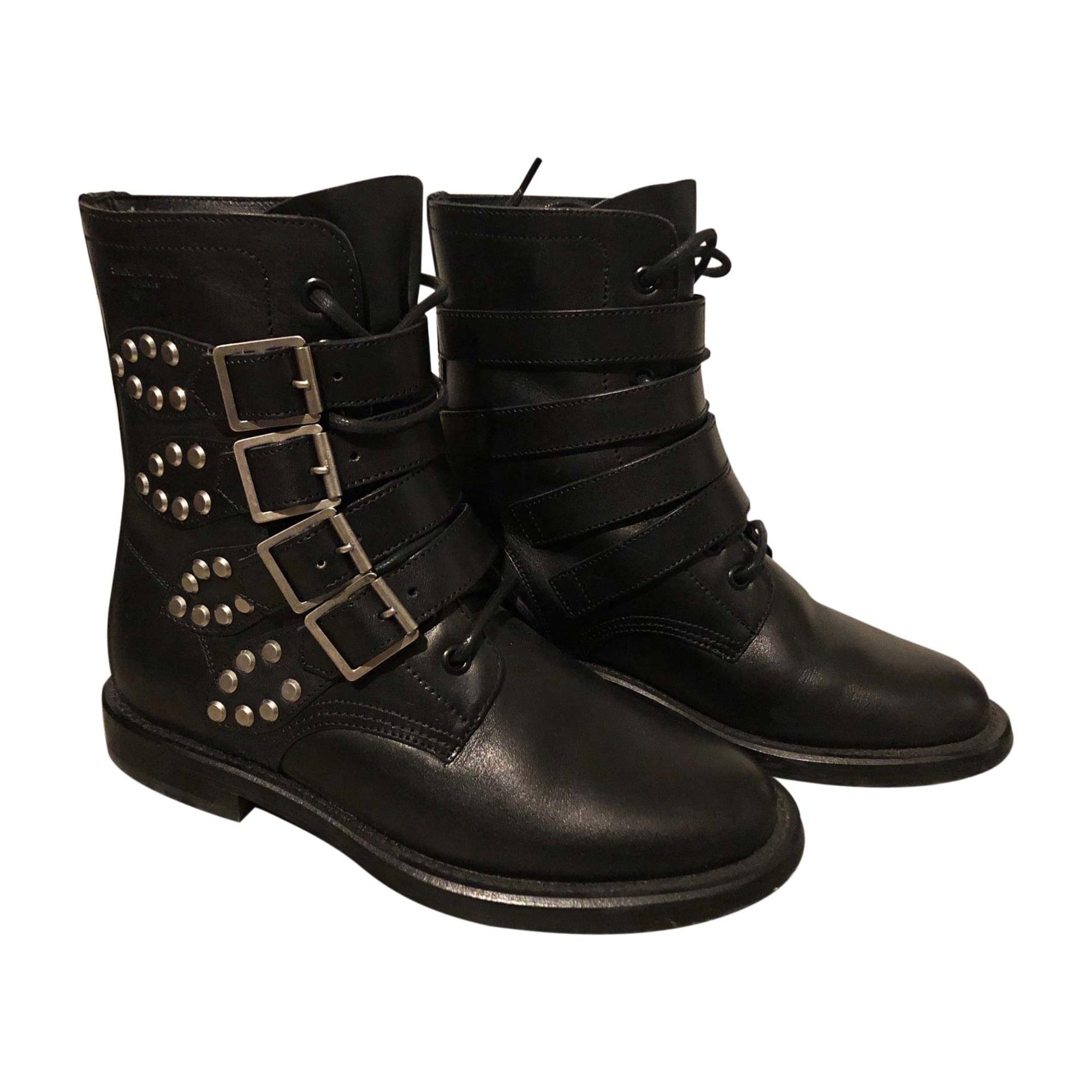 298af57a27fbd Bottines   low boots motards SAINT LAURENT 36,5 noir - 7475875