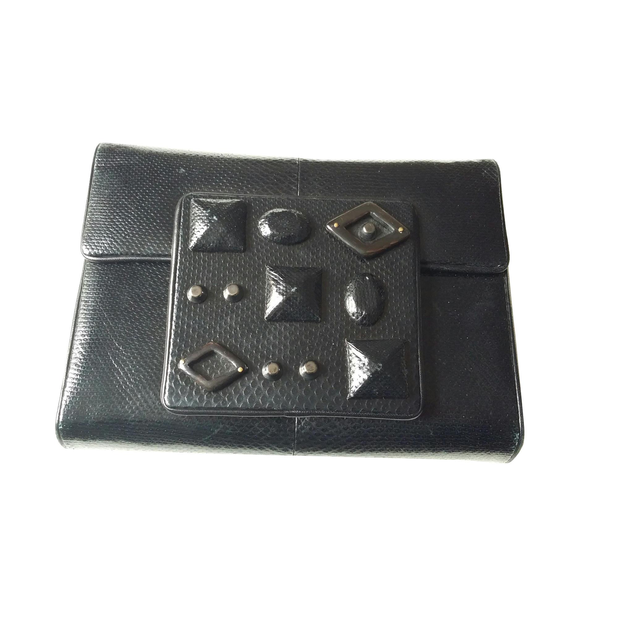 Pochette APOSTROPHE cuir irisé noir