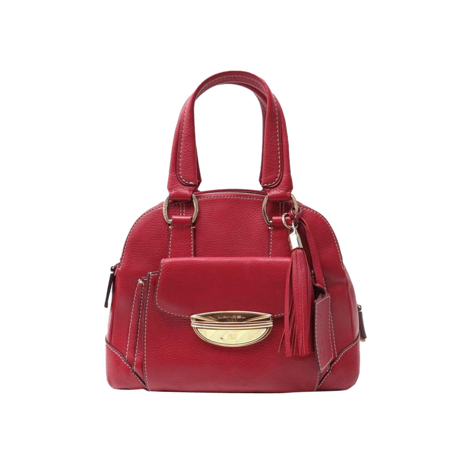 leather handbag lancel red 7518035