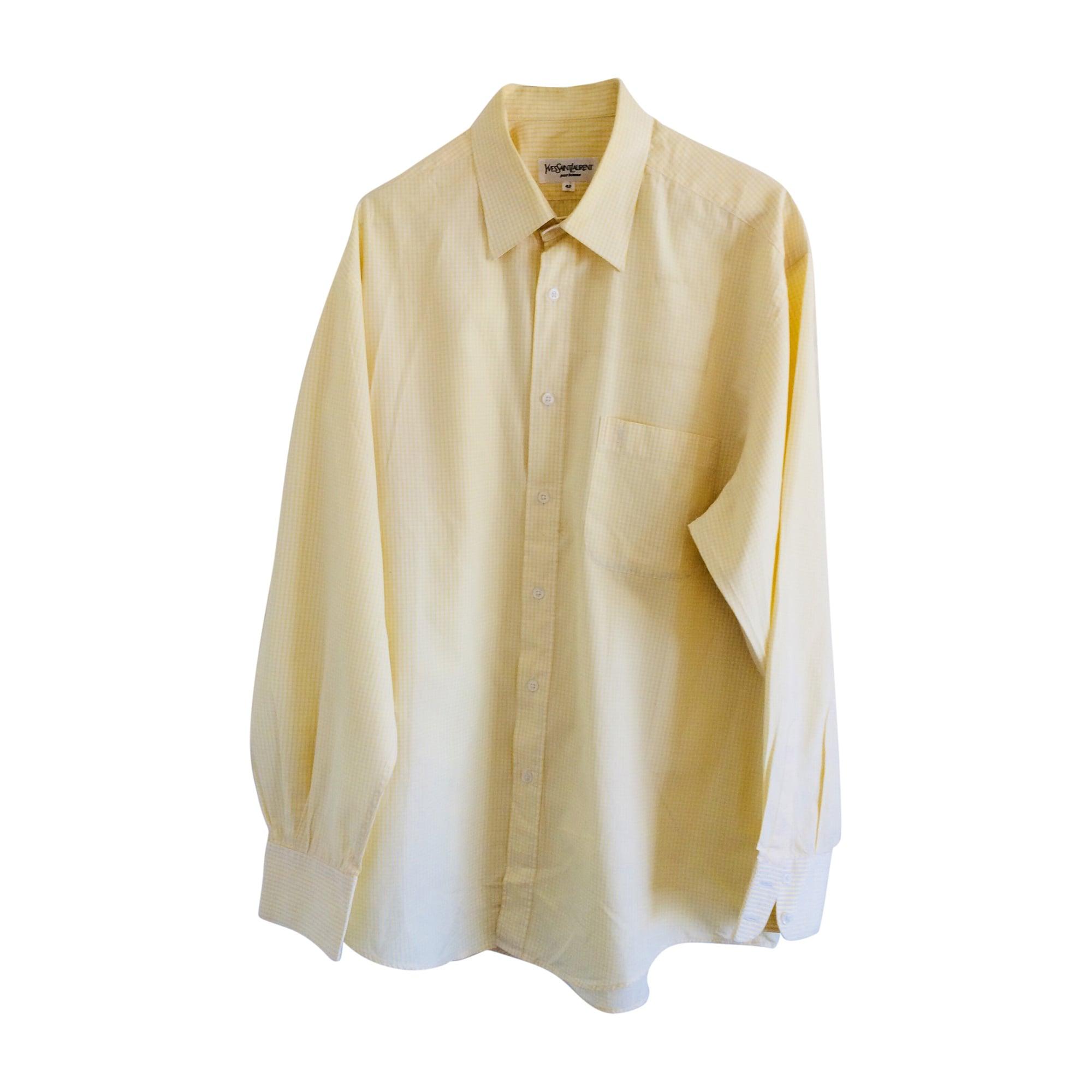 chemise yves saint laurent 41 42 l jaune vendu par clic. Black Bedroom Furniture Sets. Home Design Ideas
