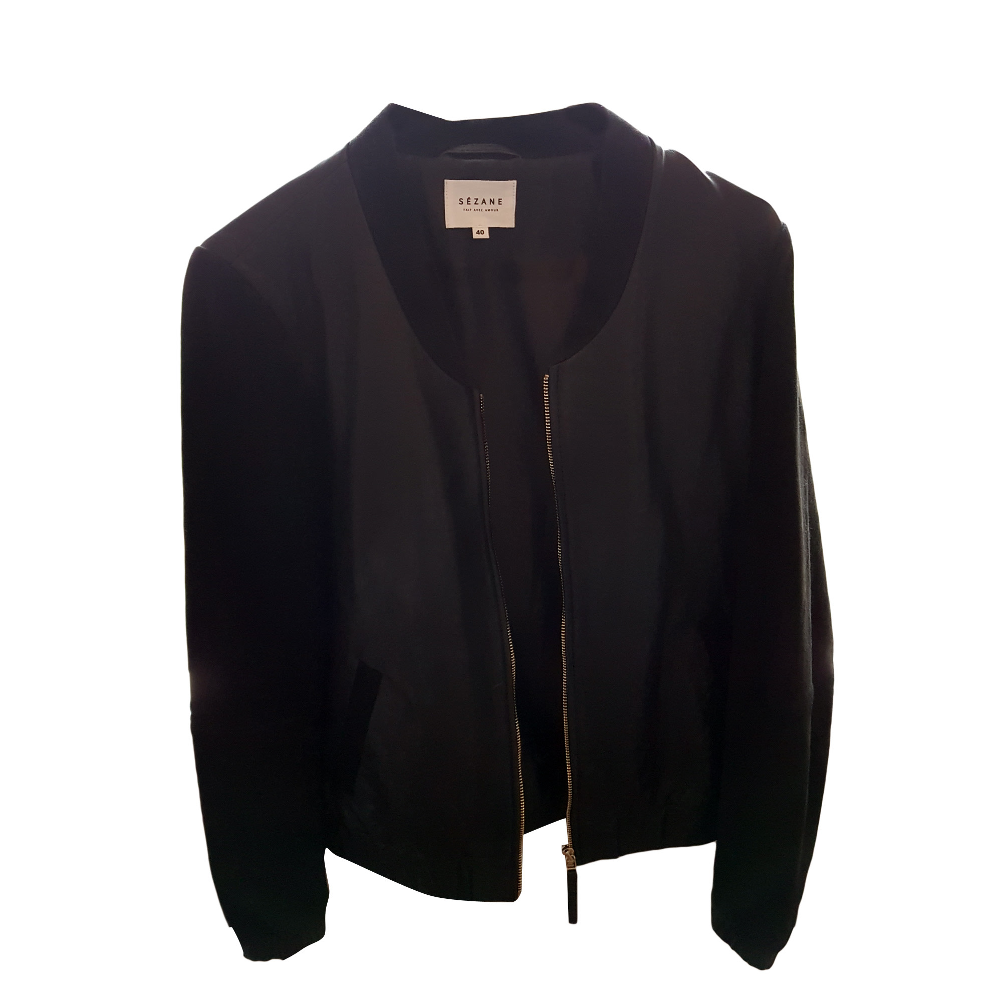 Leather Zipped Jacket SÉZANE Black
