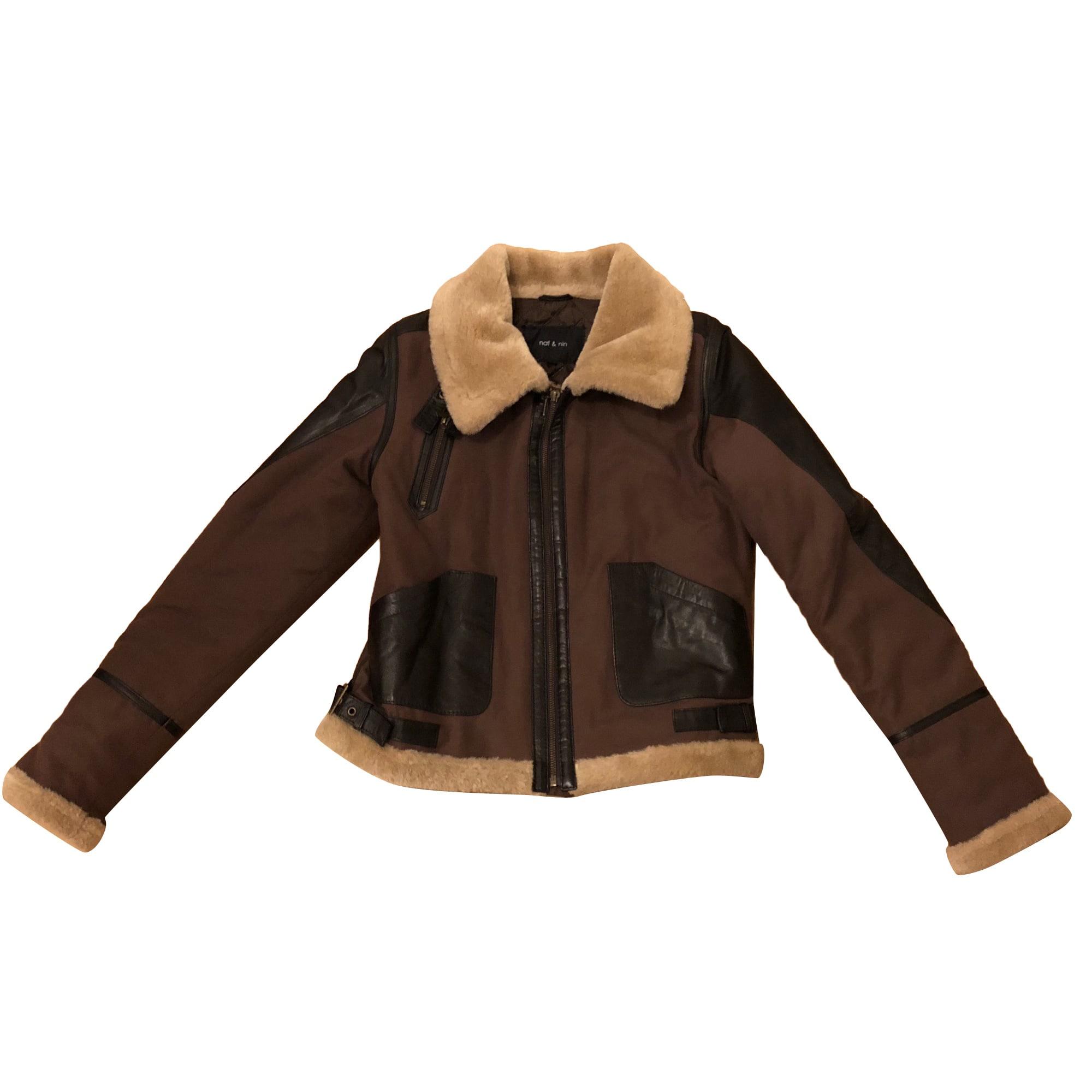 Veste en cuir et laine d'agneau Michael Kors en marron pour