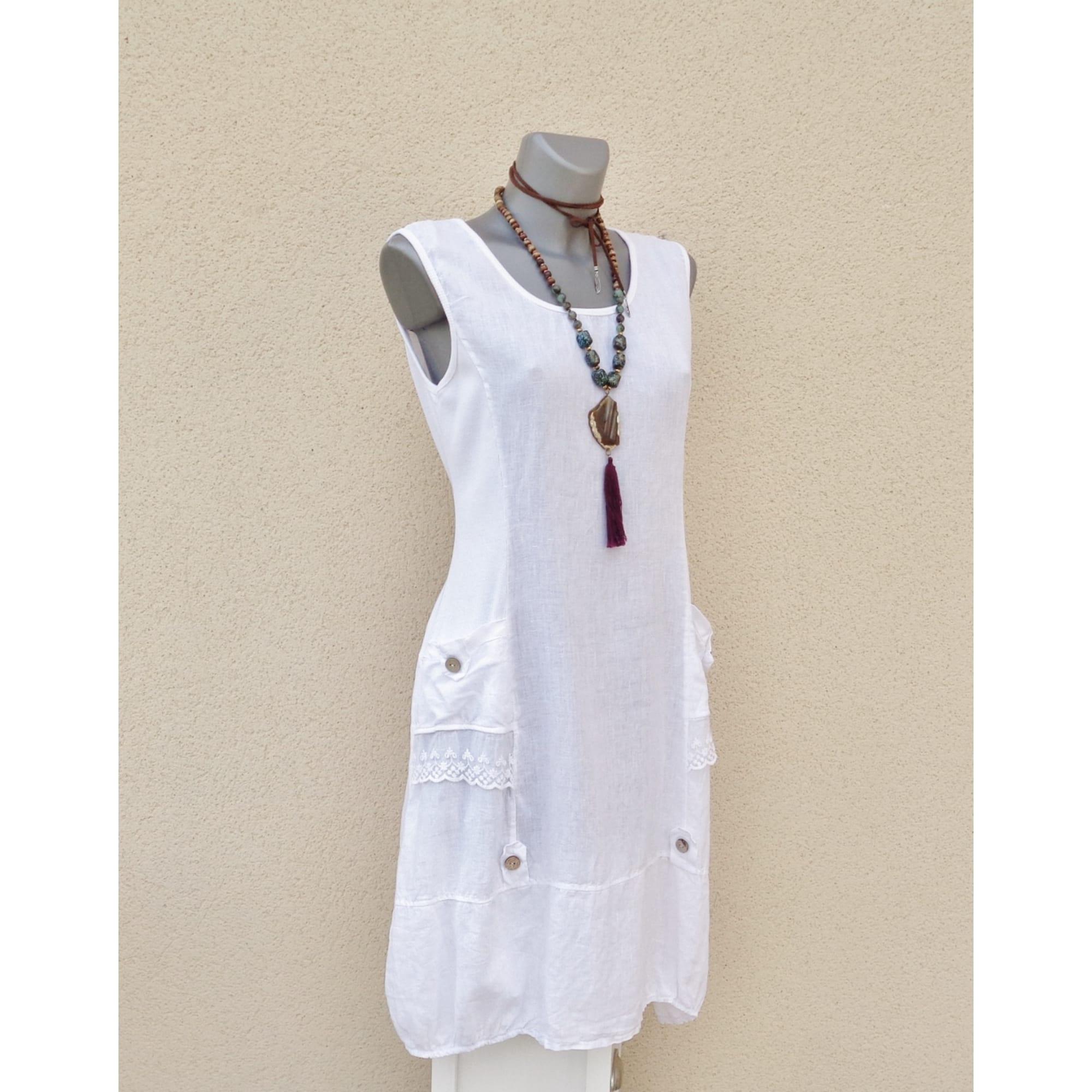 Populaire préféré Robe mi-longue MADE IN ITALIE 100% LIN Taille unique blanc vendu #EU_35