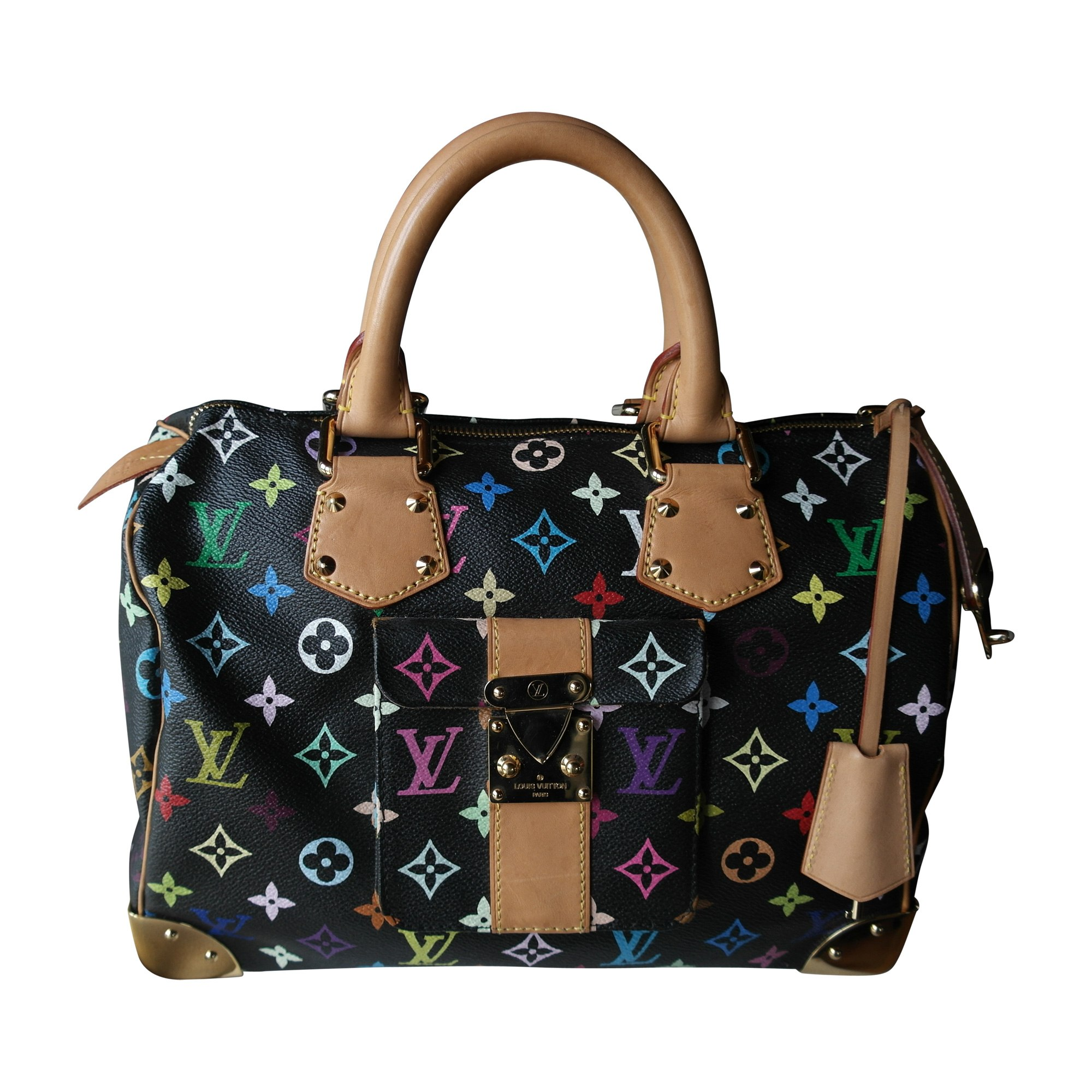987e5daf44 Sac à main en cuir LOUIS VUITTON speedy noir - 7585721