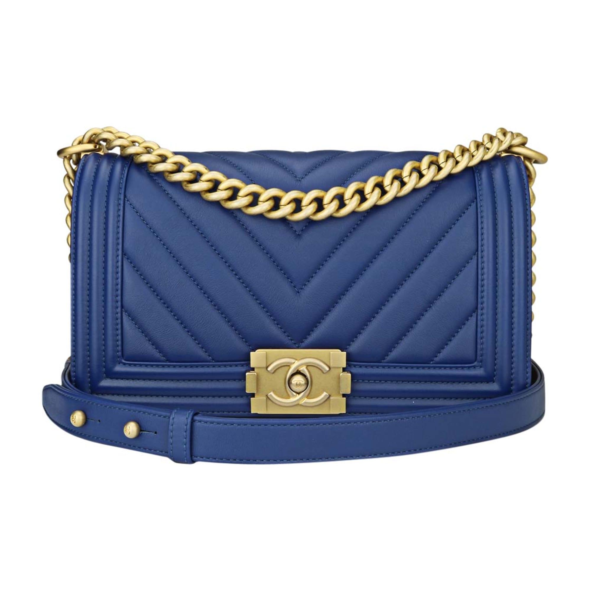c8794defd1 Sac à main en cuir CHANEL Boy Bleu, bleu marine, bleu turquoise