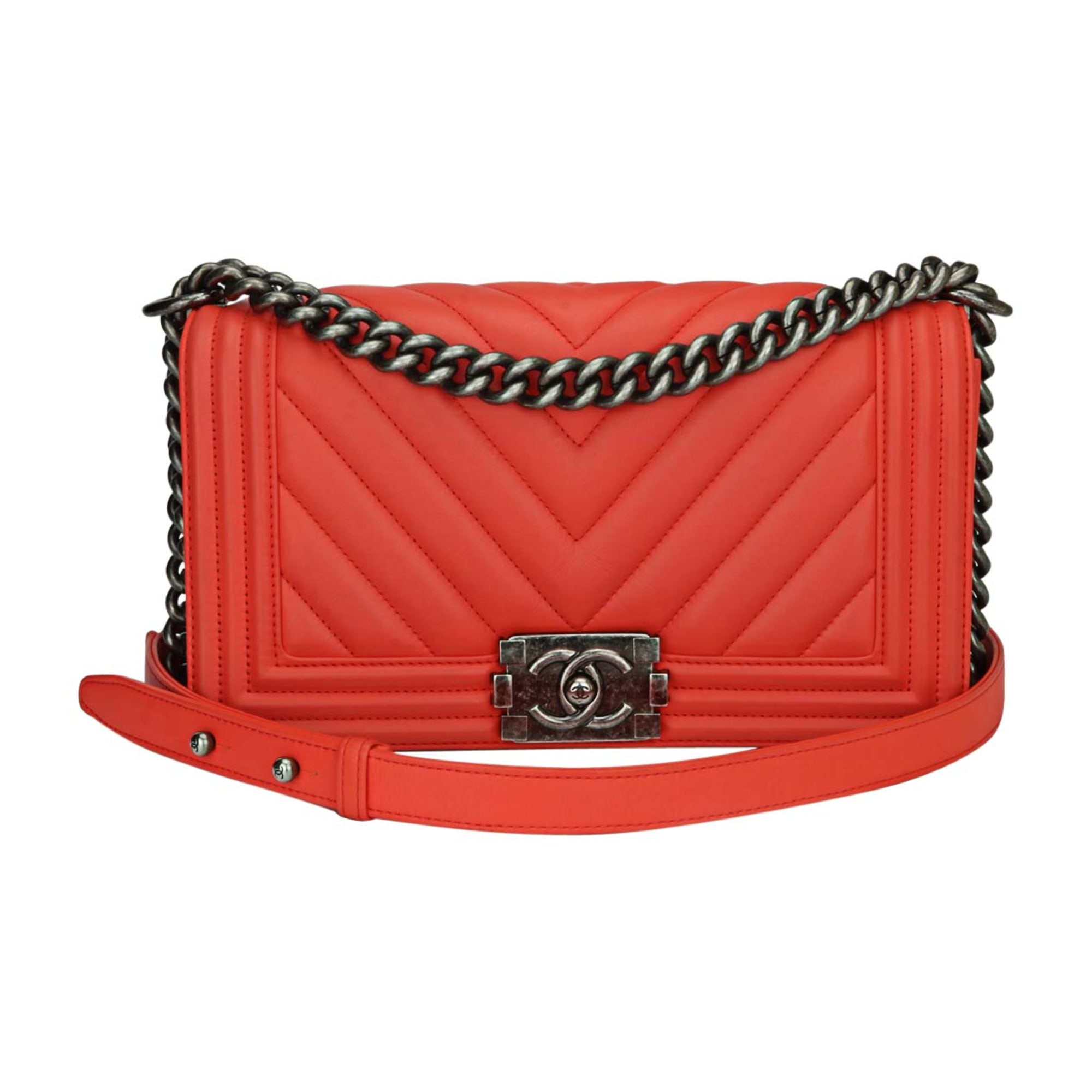 Sac à main en cuir CHANEL boy rouge - 7587694 339d30b3315